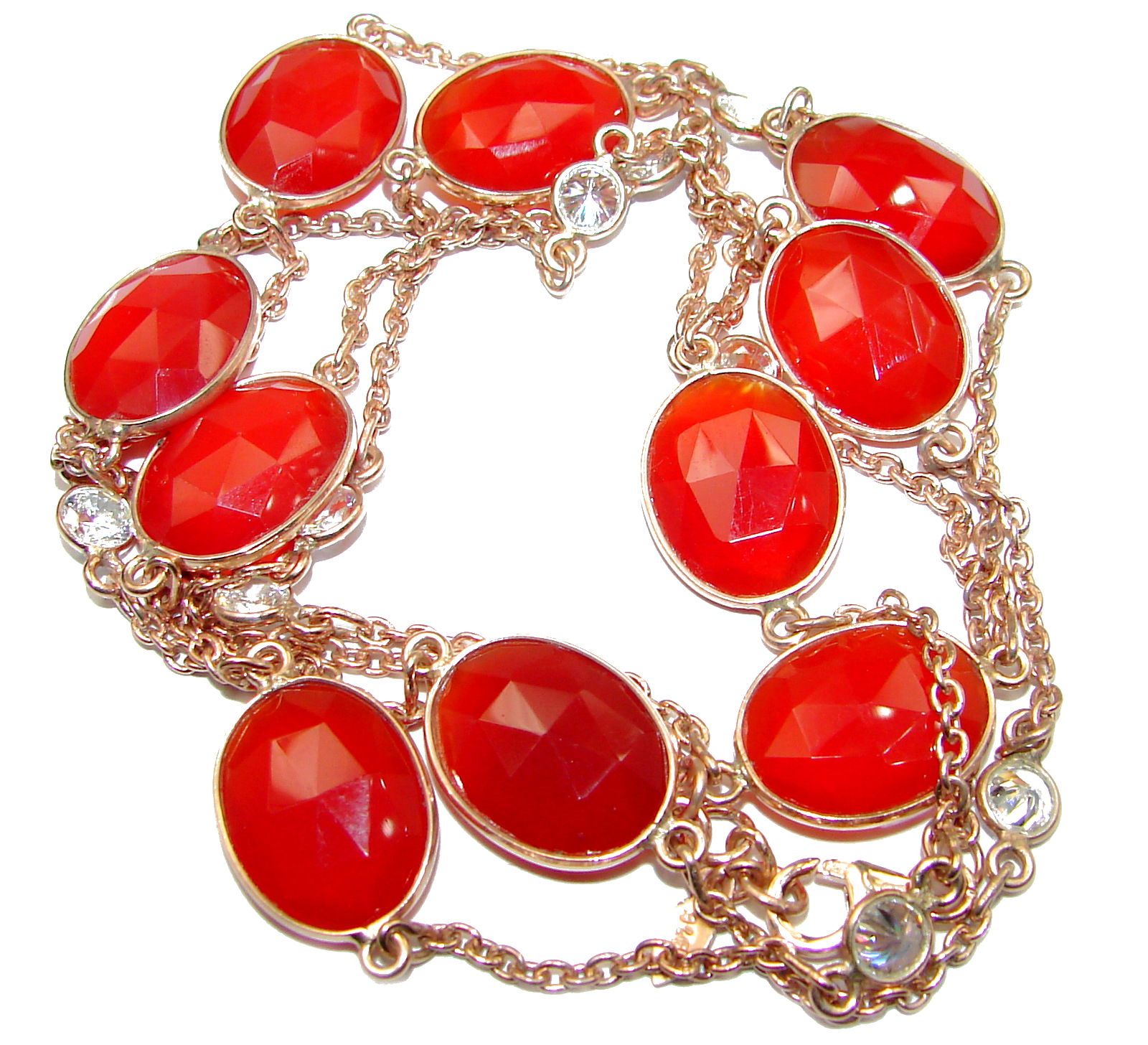 36 inches genuine Carnelian Rose Gold .925 Sterling Silver handcrafted Station Necklace