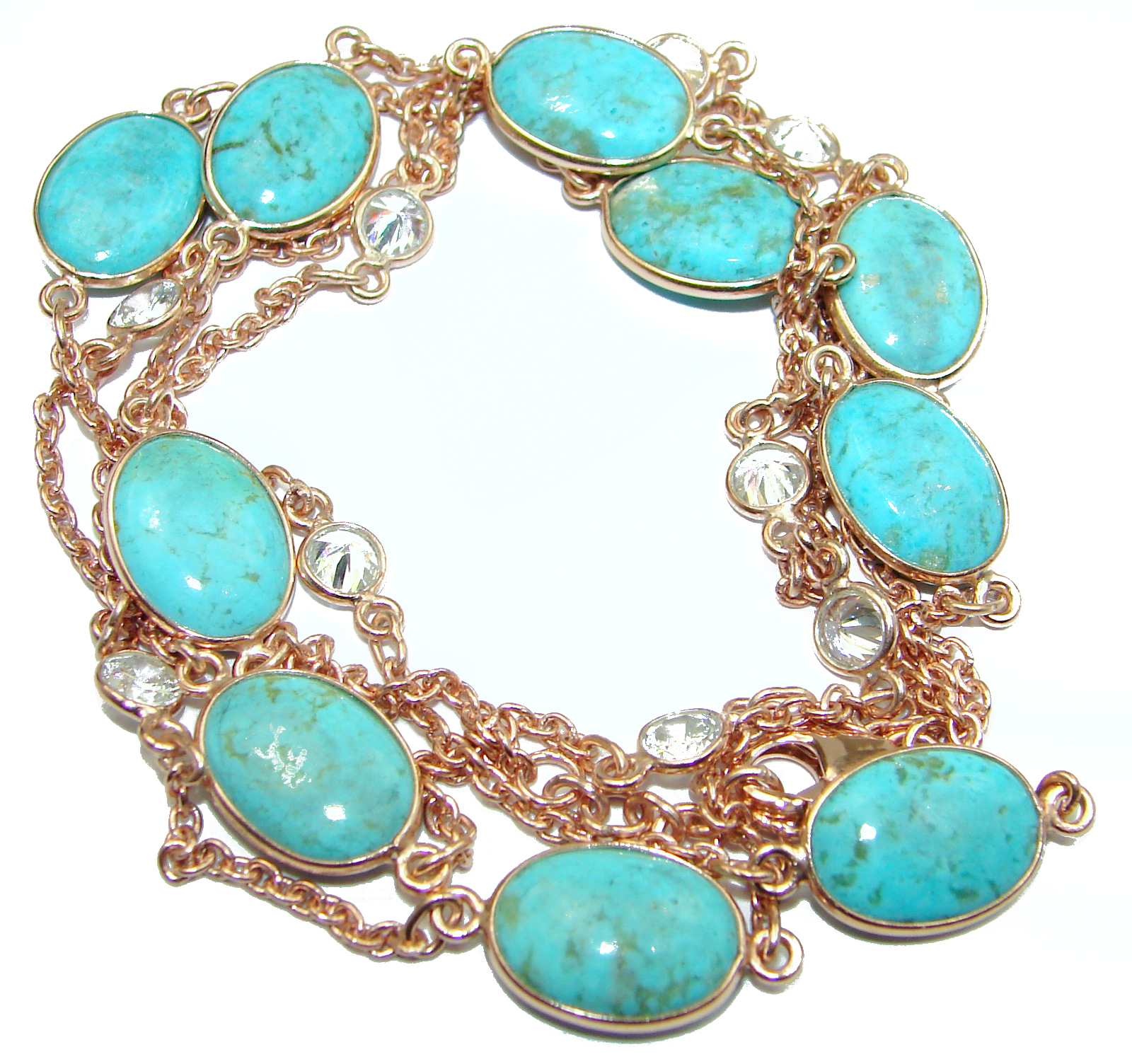 36 inches genuine Sleeping Beauty Turquoise .925 Sterling Silver handmade station Necklace