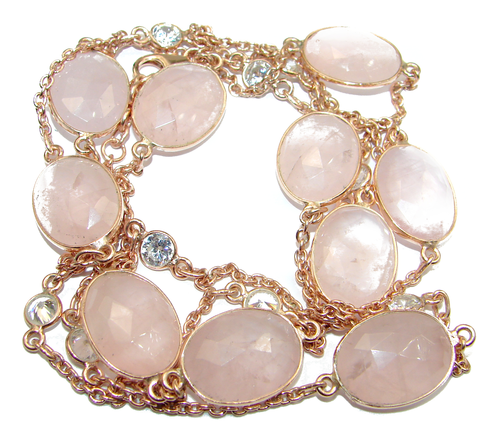36 inches genuine Rose Quartz White Topaz .925 Sterling Silver handmade station Necklace
