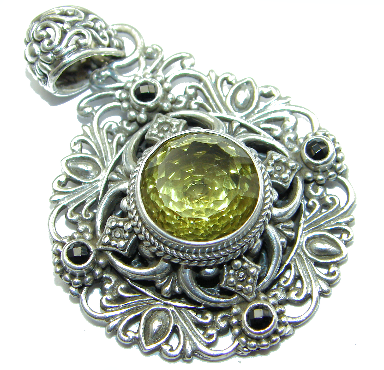 Amazing Celtic Design Peridot .925 Sterling Silver handcrafted Pendant