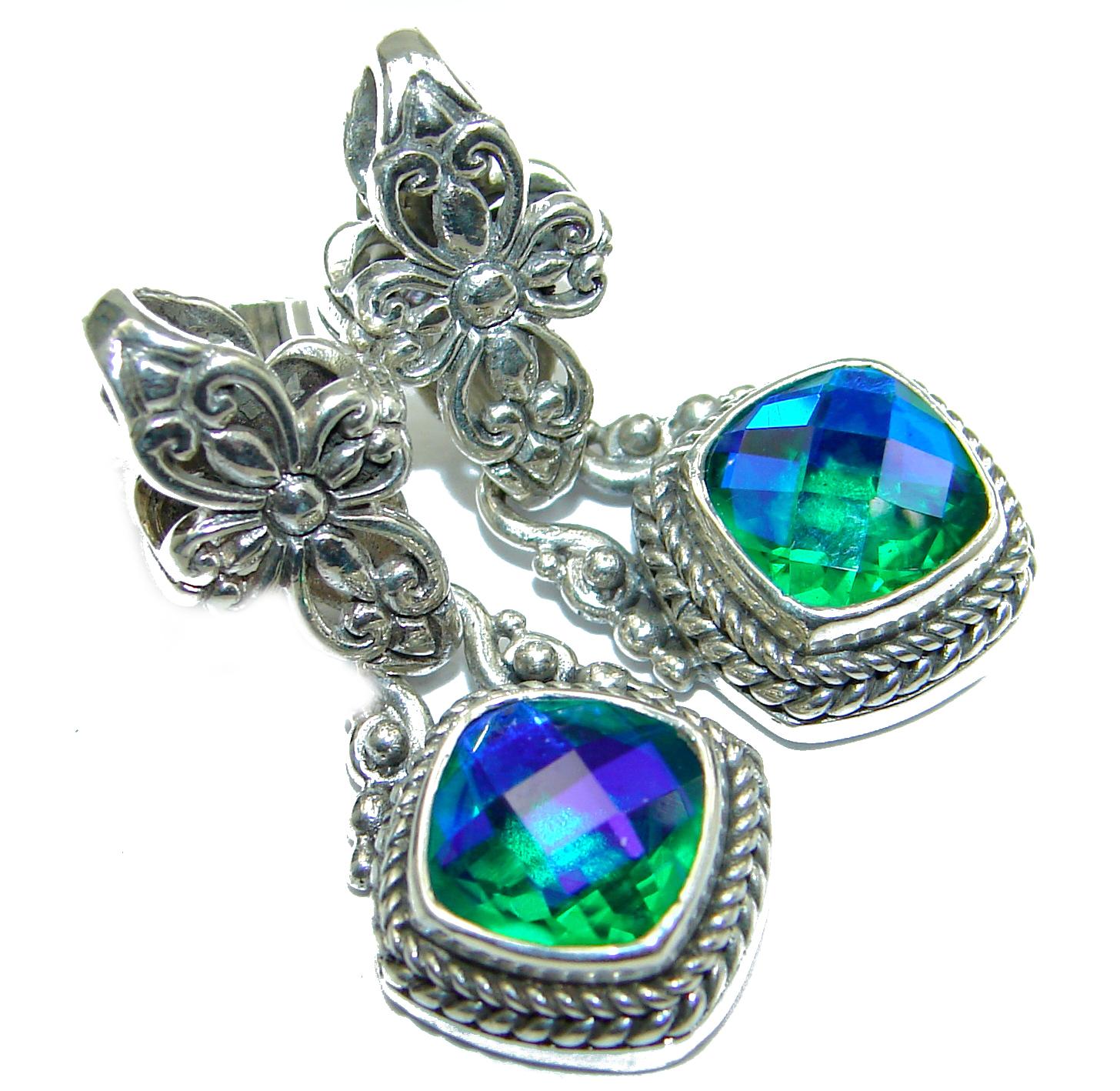 Volcanic Aqua Topaz .925 Sterling Silver handmade earrings