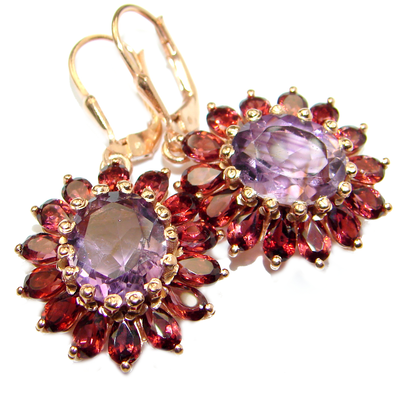 Vintage Design Authentic Amethyst Rose Gold over .925 Sterling Silver handmade earrings