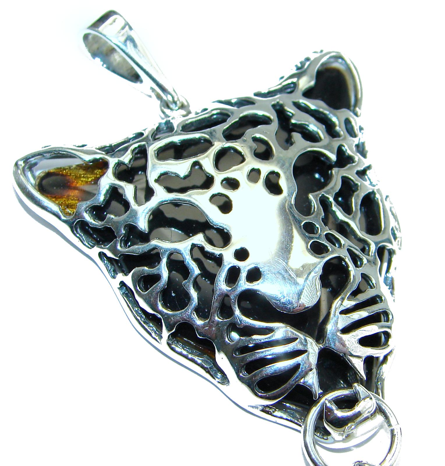 Cheetah Natural Baltic Amber .925 Sterling Silver handmade Pendant