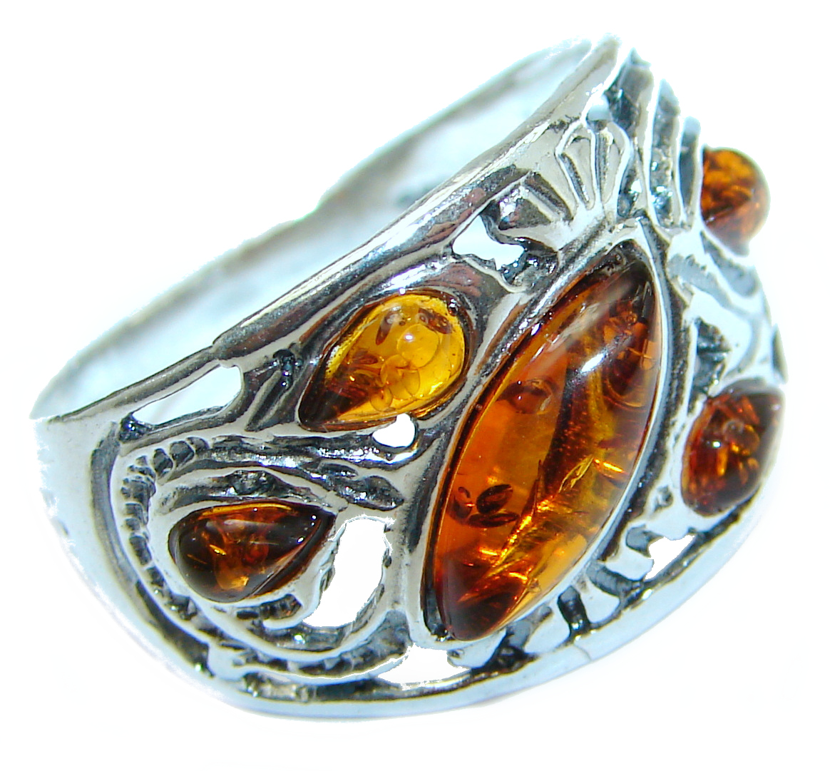 Huge Baltic Amber .925 Sterling Silver ring; s. 8 3/4
