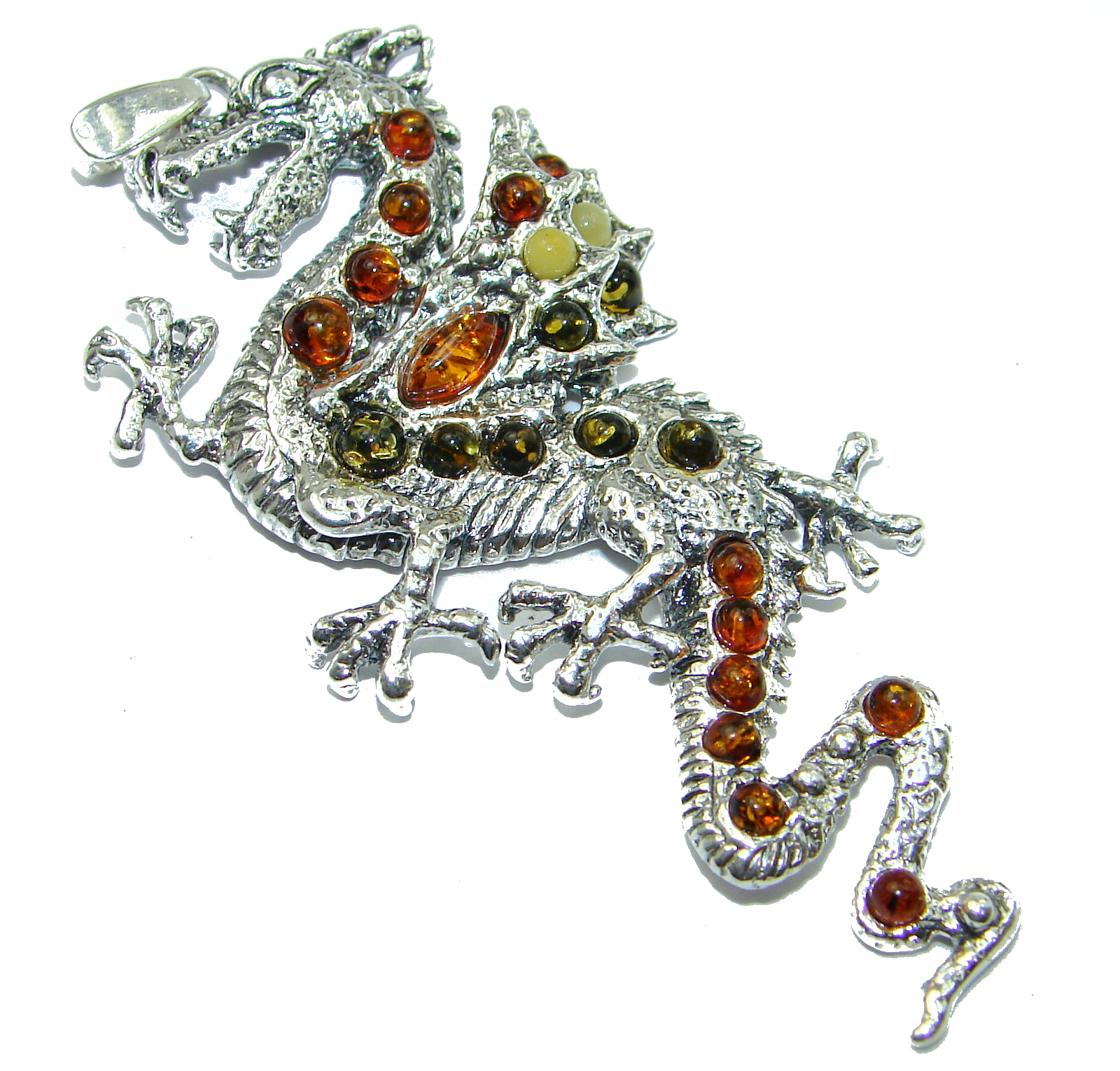 Huge Dragon Multicolor Baltic Amber .925 Sterling Silver handcrafted Pendant