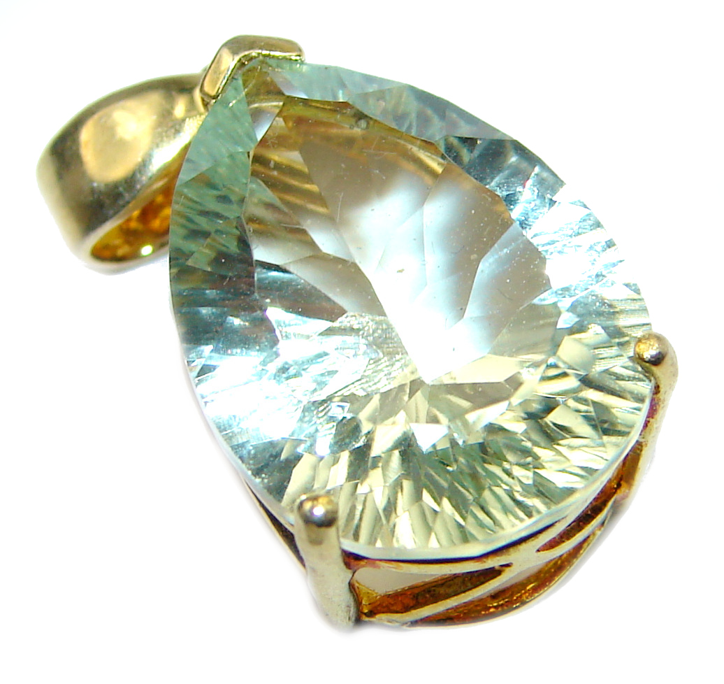 Genuine Green Amethyst 14K Gold .925 Sterling Silver handmade Pendant