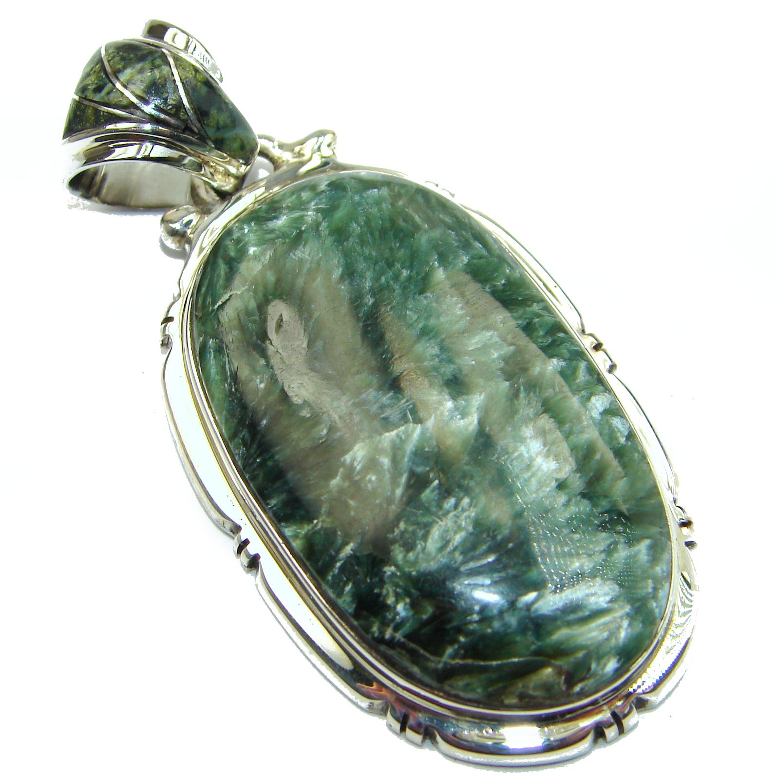 Precious Seraphinite .925 Sterling Silver handmade Pendant
