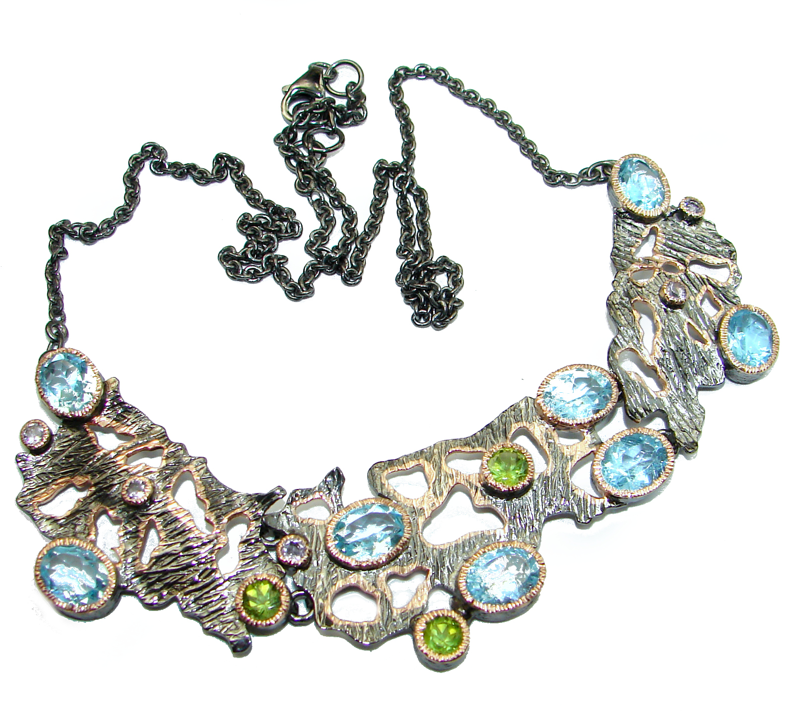 Andromeda Swiss Blue Topaz Rose Gold Rhodium over .925 Sterling Silver handcrafted necklace