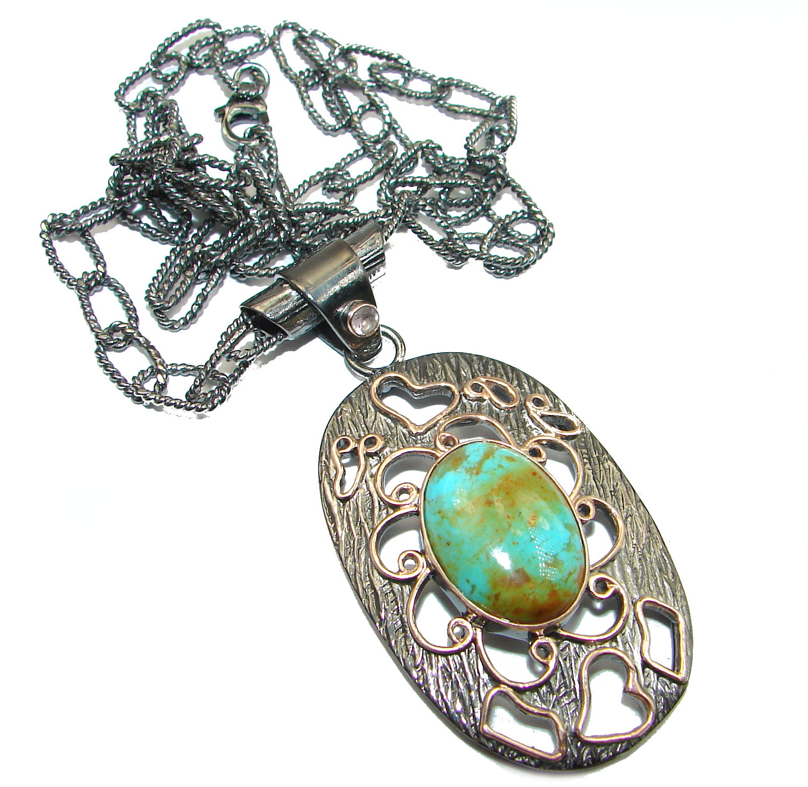 Carico Lake Royston Turquoise .925 Sterling Silver handcrafted necklace
