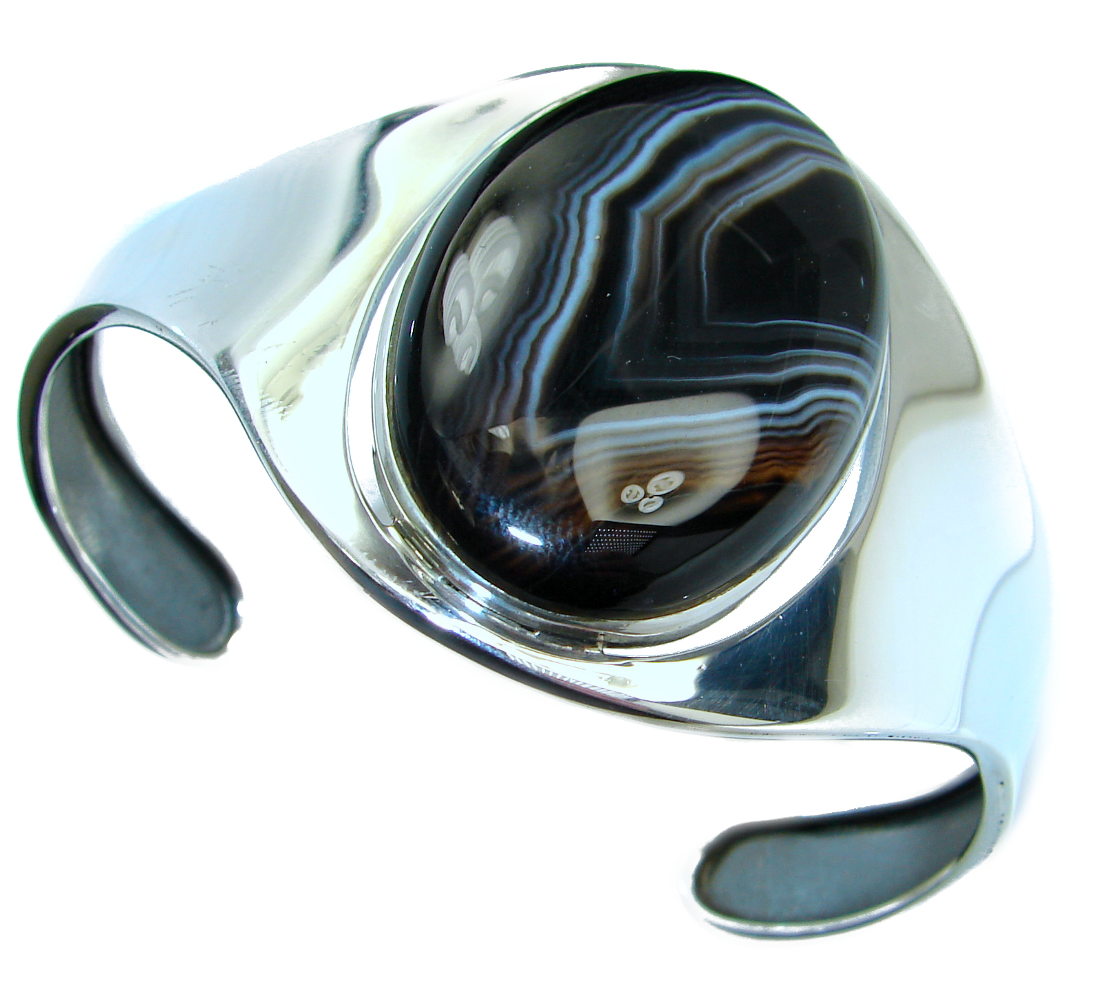 Black Botswana Agate .925 Sterling Silver handcrafted Bracelet / Cuff