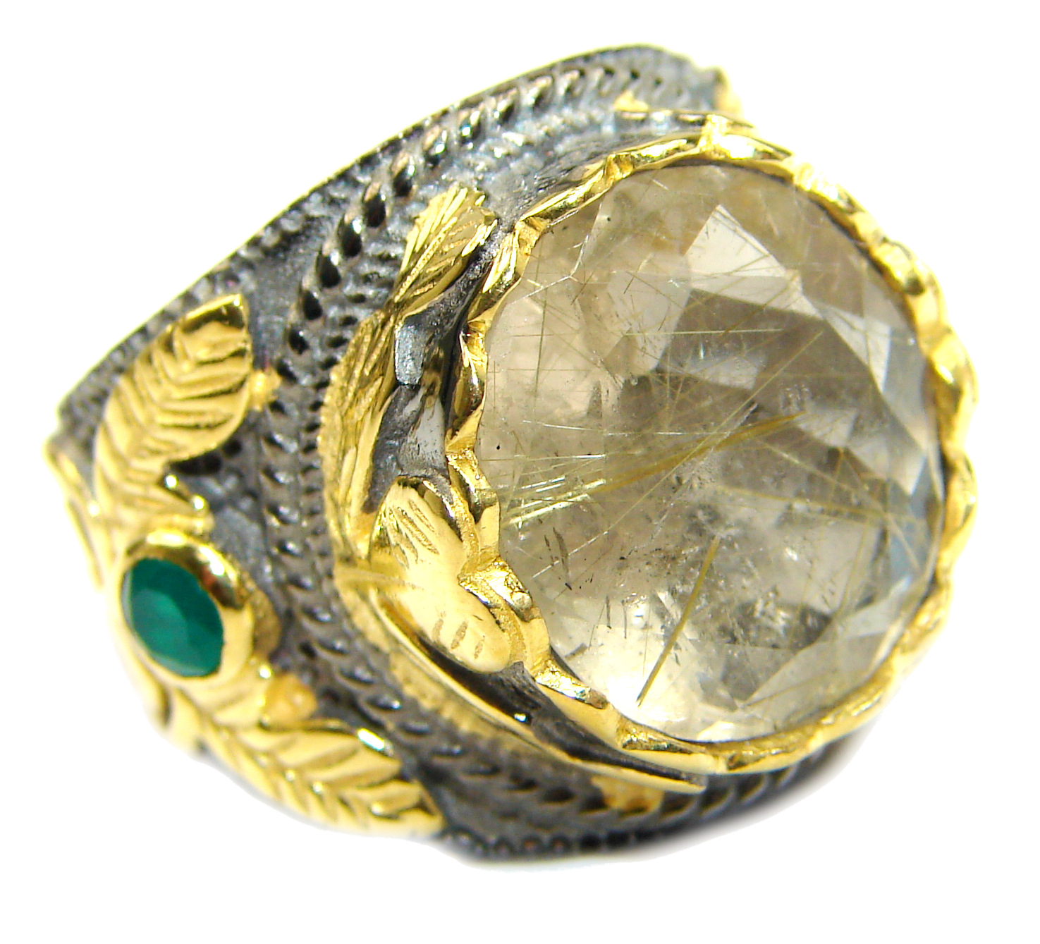 Golden Rutilated Quartz 14K Gold over  .925 Sterling Silver handcrafted Ring..