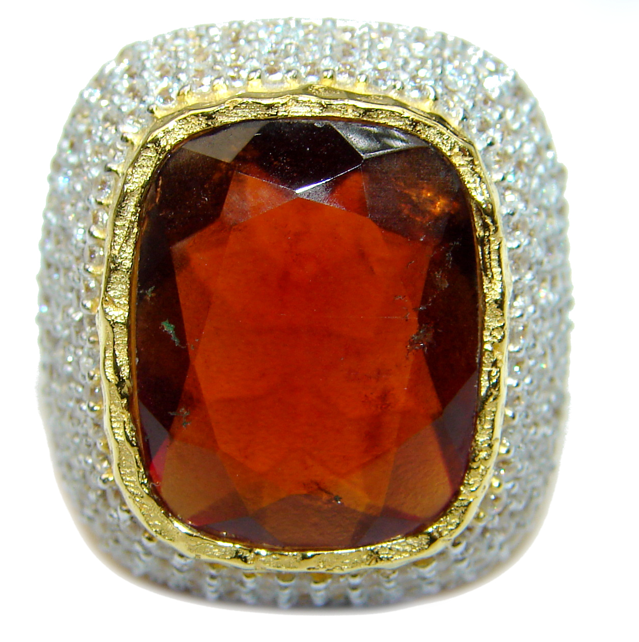 Large 35ct genuine Ruby 14K Gold over .925 Sterling Silver Statement Italy made ring; s. 7
