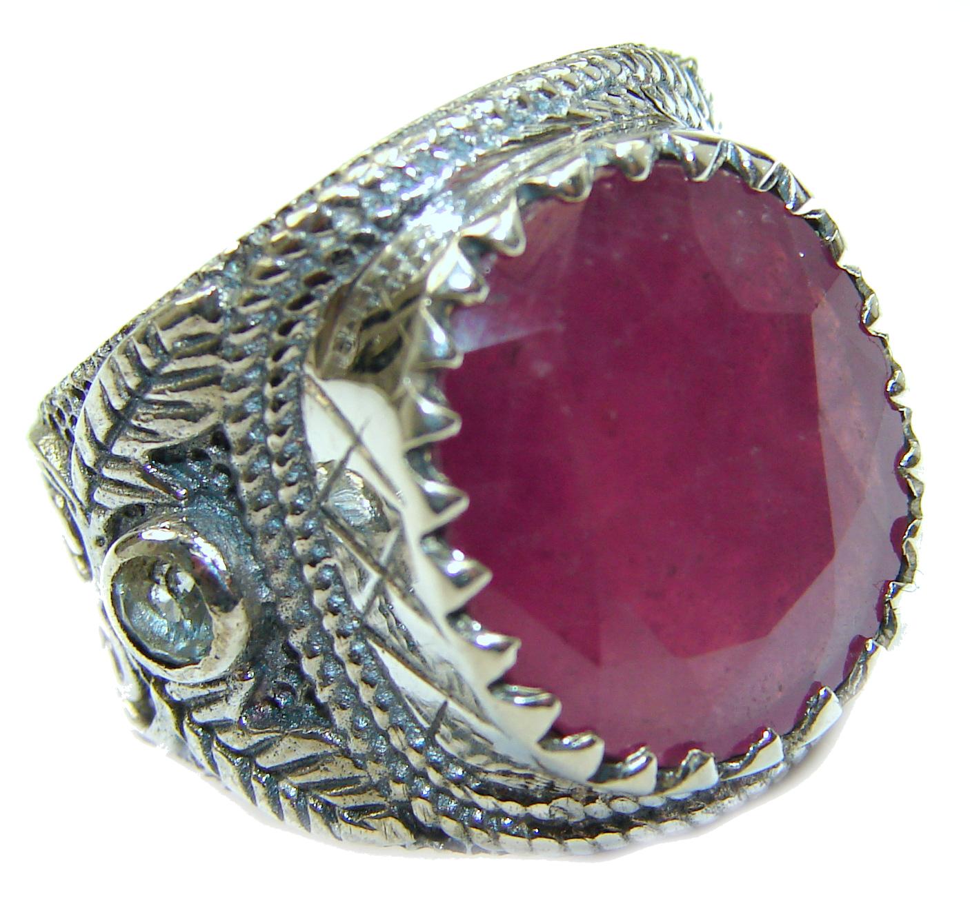 Large genuine Ruby .925 Sterling Silver Statement Italy made ring; s. 6