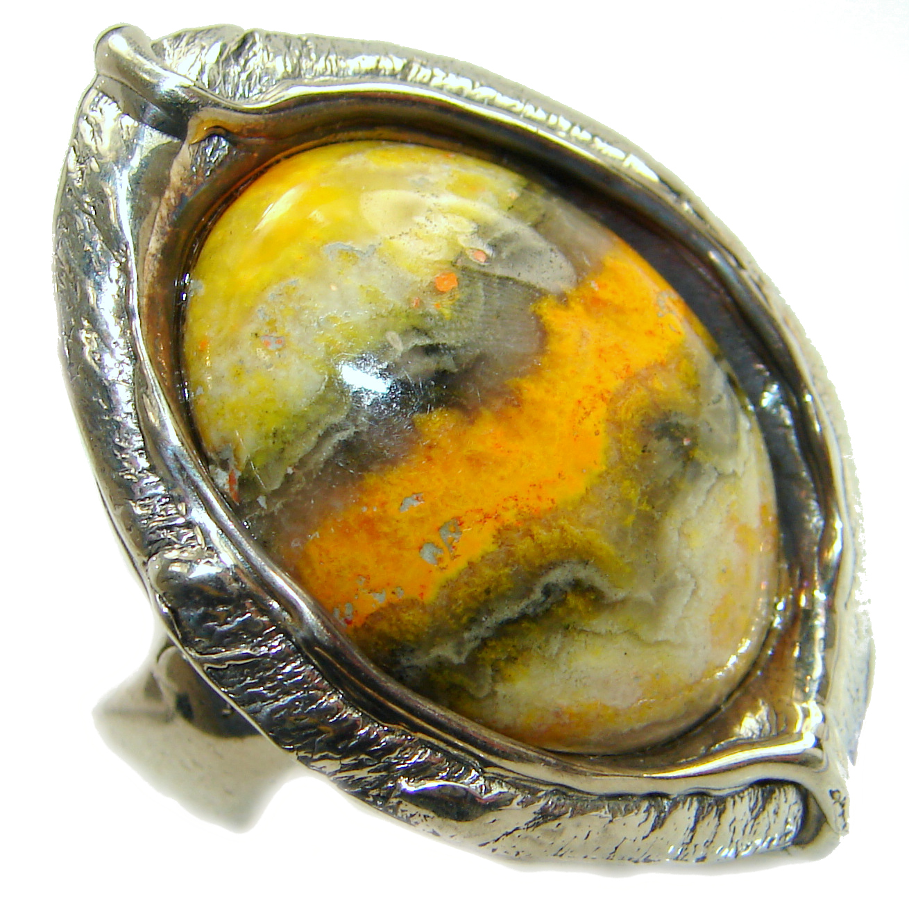 Vivid Beauty Bumble Bee Jasper .925 Sterling Silver handcrafted ring s. 7 adjustable