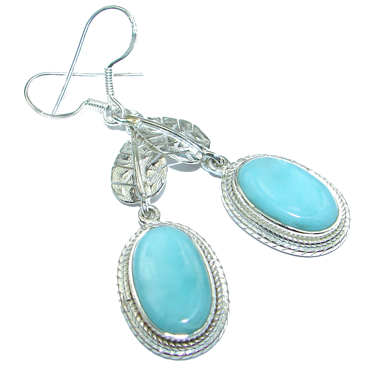 Genuine Blue Turquoise .925 Sterling Silver handcrafted earrings