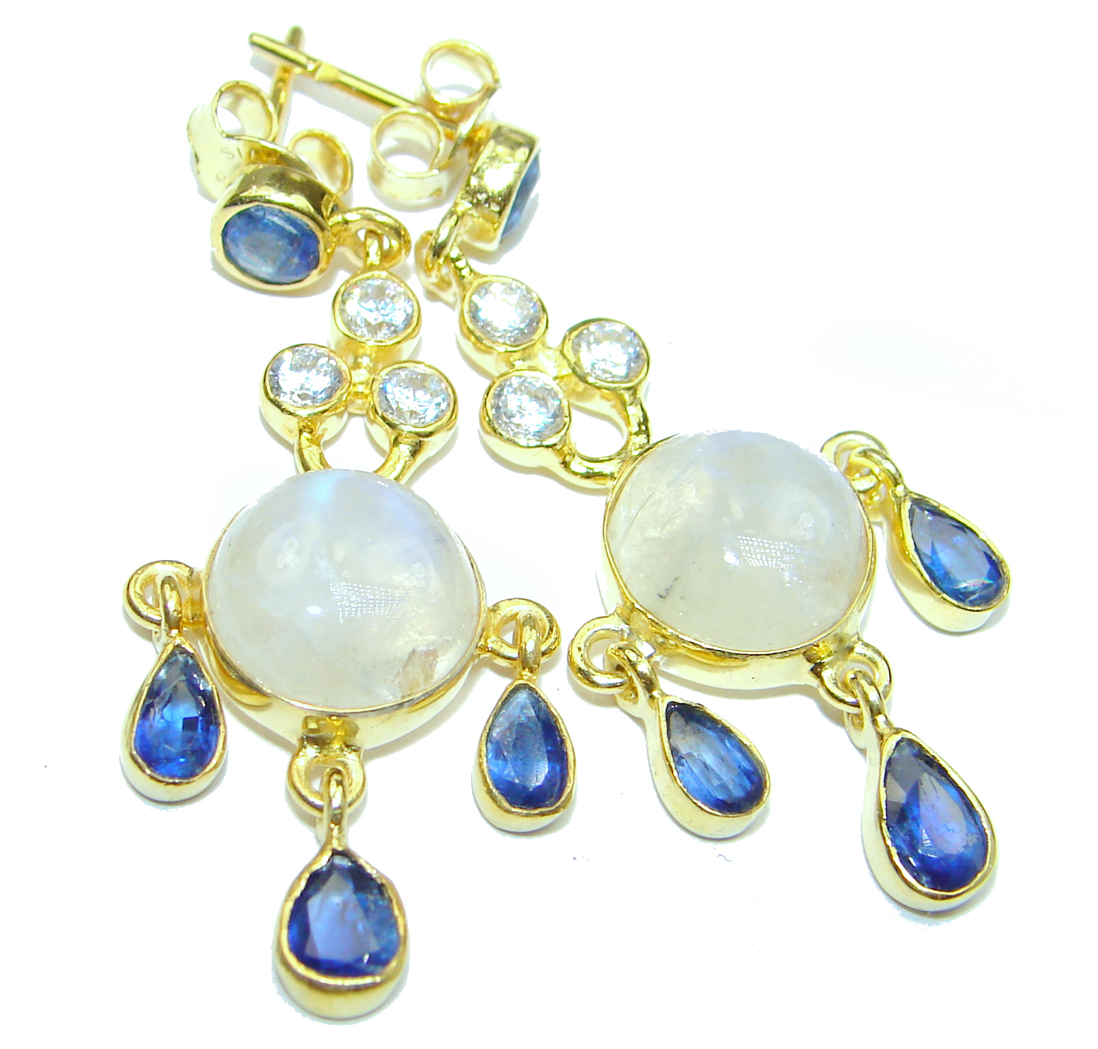 Genuine Fire Moonstone 18K Gold over .925 Sterling Silver handcrafted Earrings