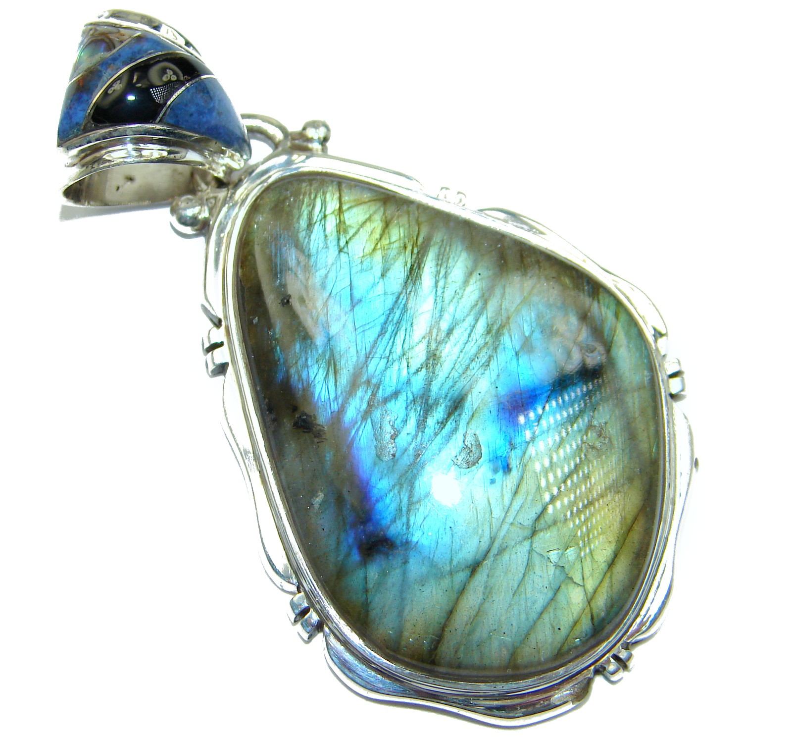 Perfection Fire Labradorite .925 Sterling Silver handmade Pendant