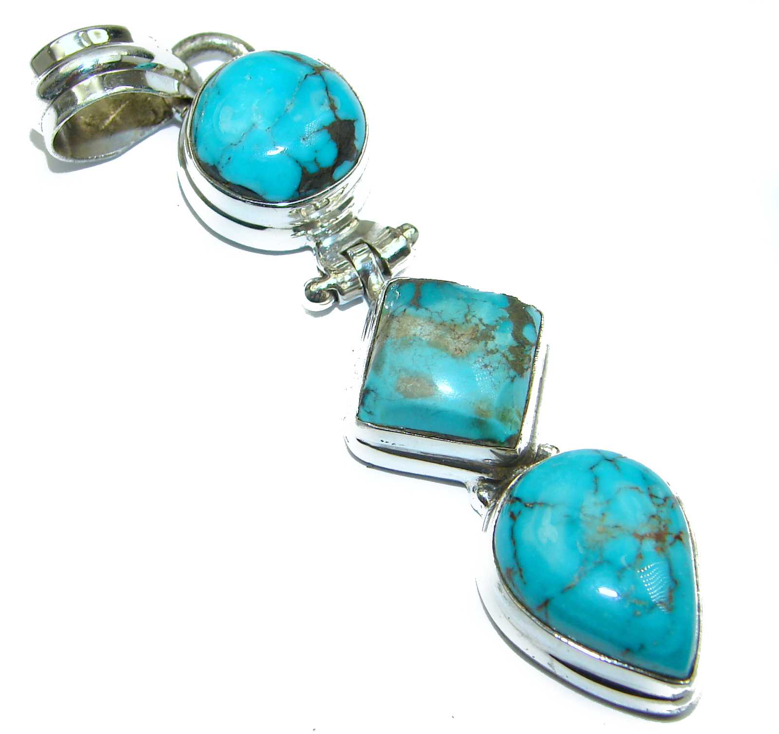 Exquisite authentic Turquoise .925 Sterling Silver handmade Pendant