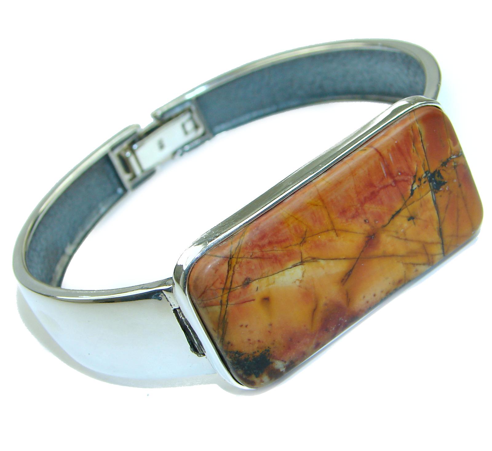 Large Genuine Morrisonite Jasper .925 Sterling Silver handmade Bracelet