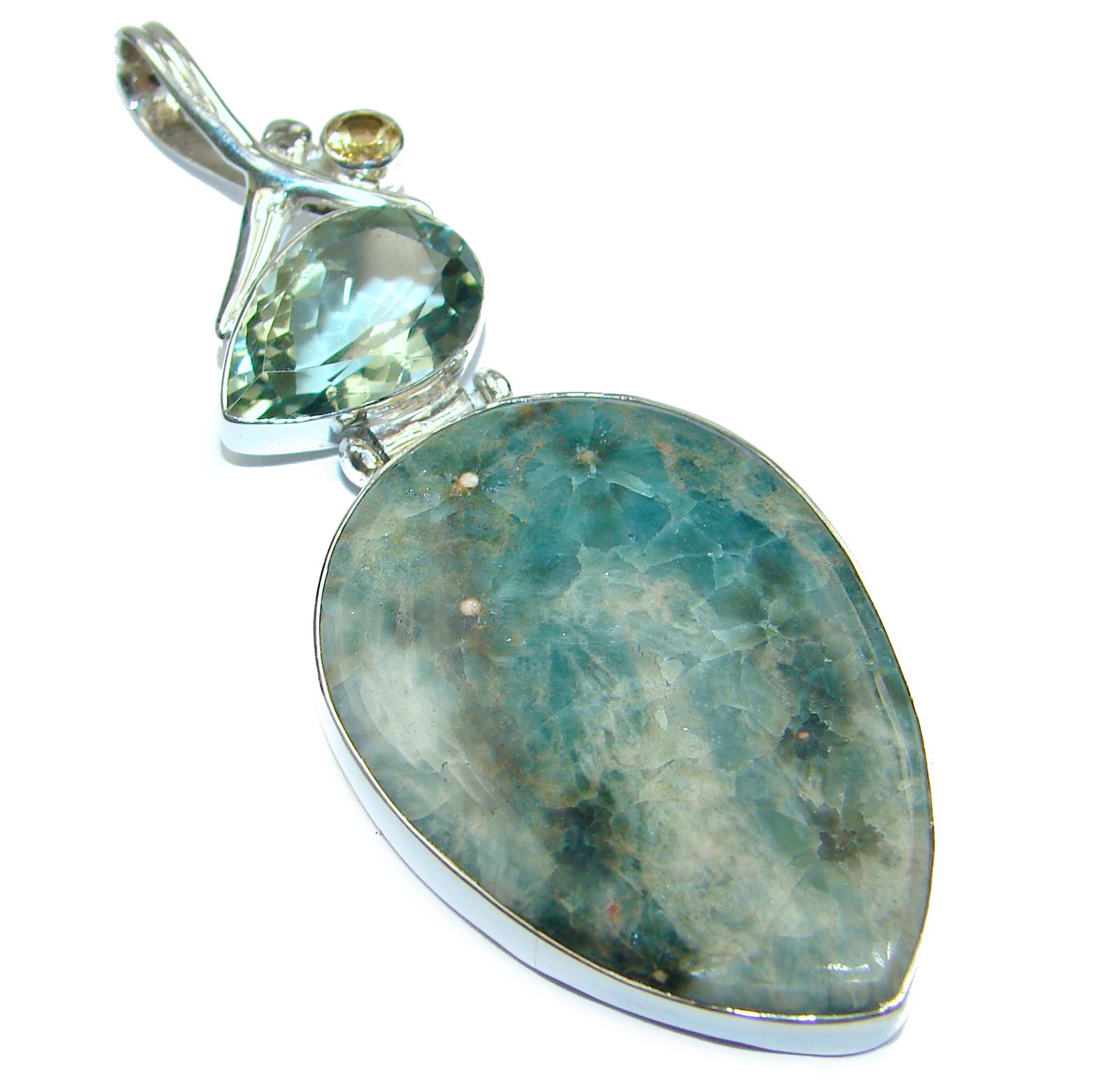 SENSATIONAL Ocean Jasper .925 Sterling Silver handmade pendant