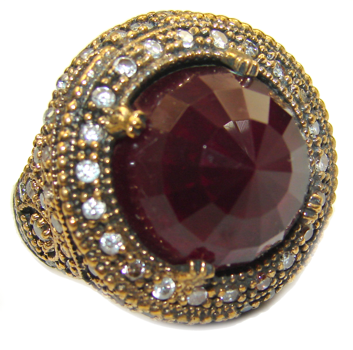 Large Victorian Style created Ruby & White Topaz Sterling Silver ring; s. 8