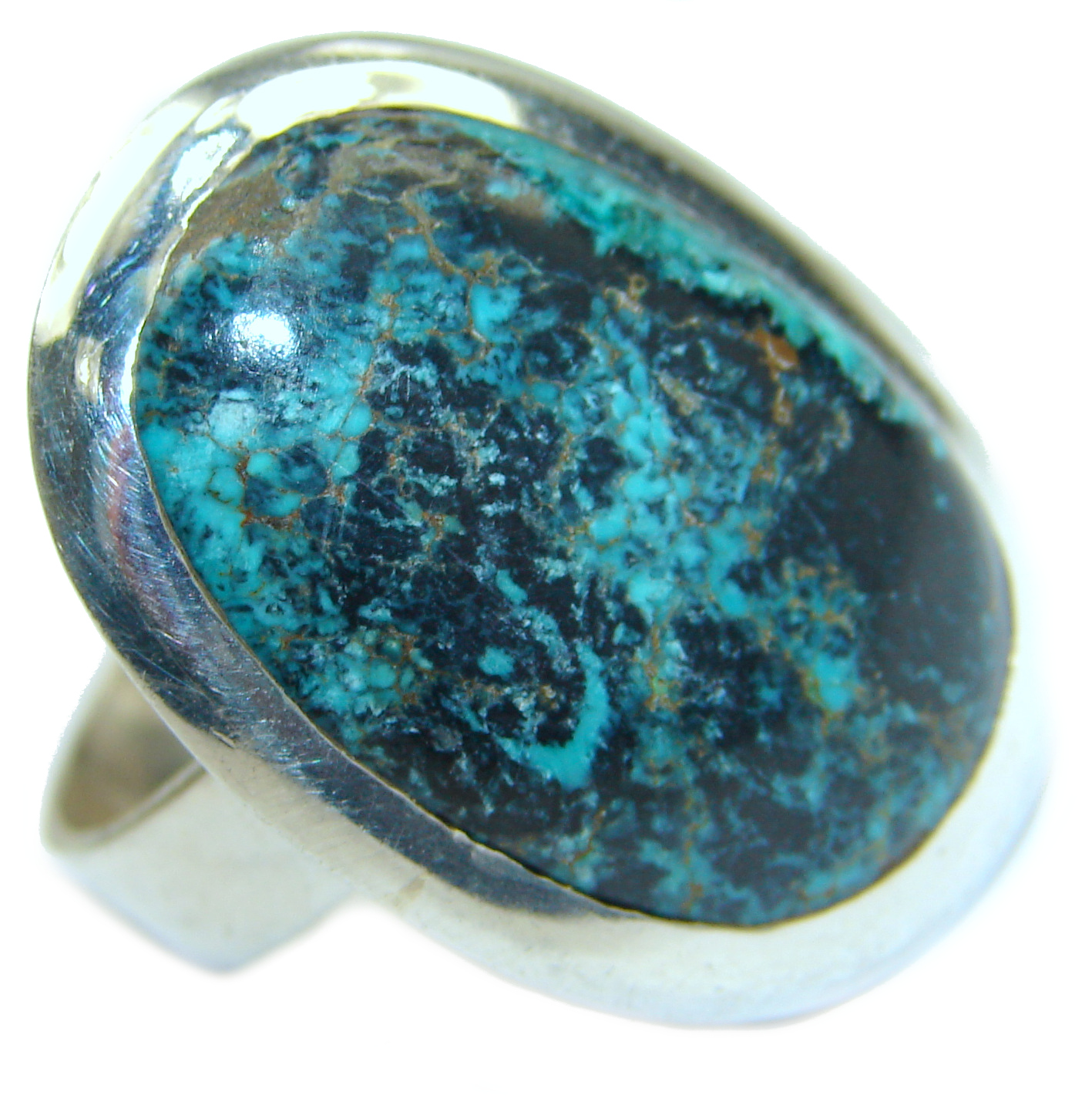 Huge Turquoise .925 Sterling Silver ring; s. 9