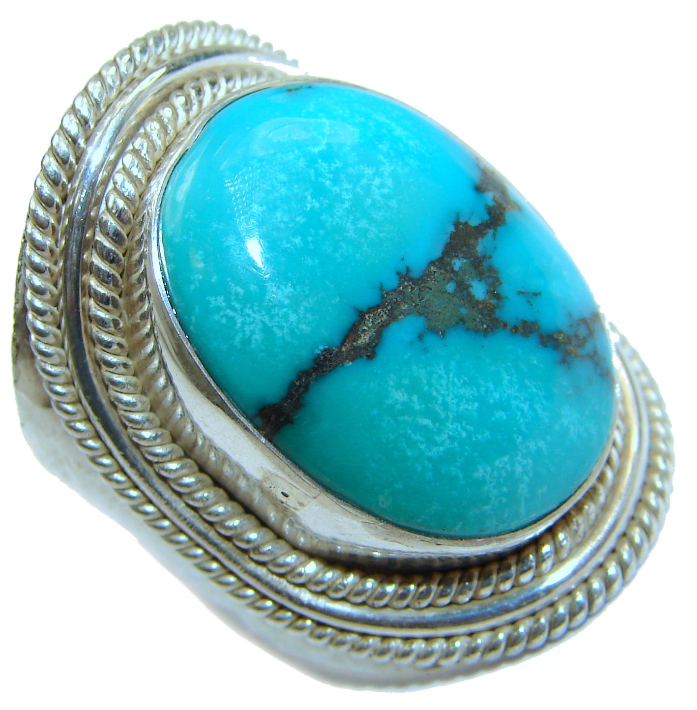 Huge authentic Turquoise .925 Sterling Silver ring; s. 8 3/4