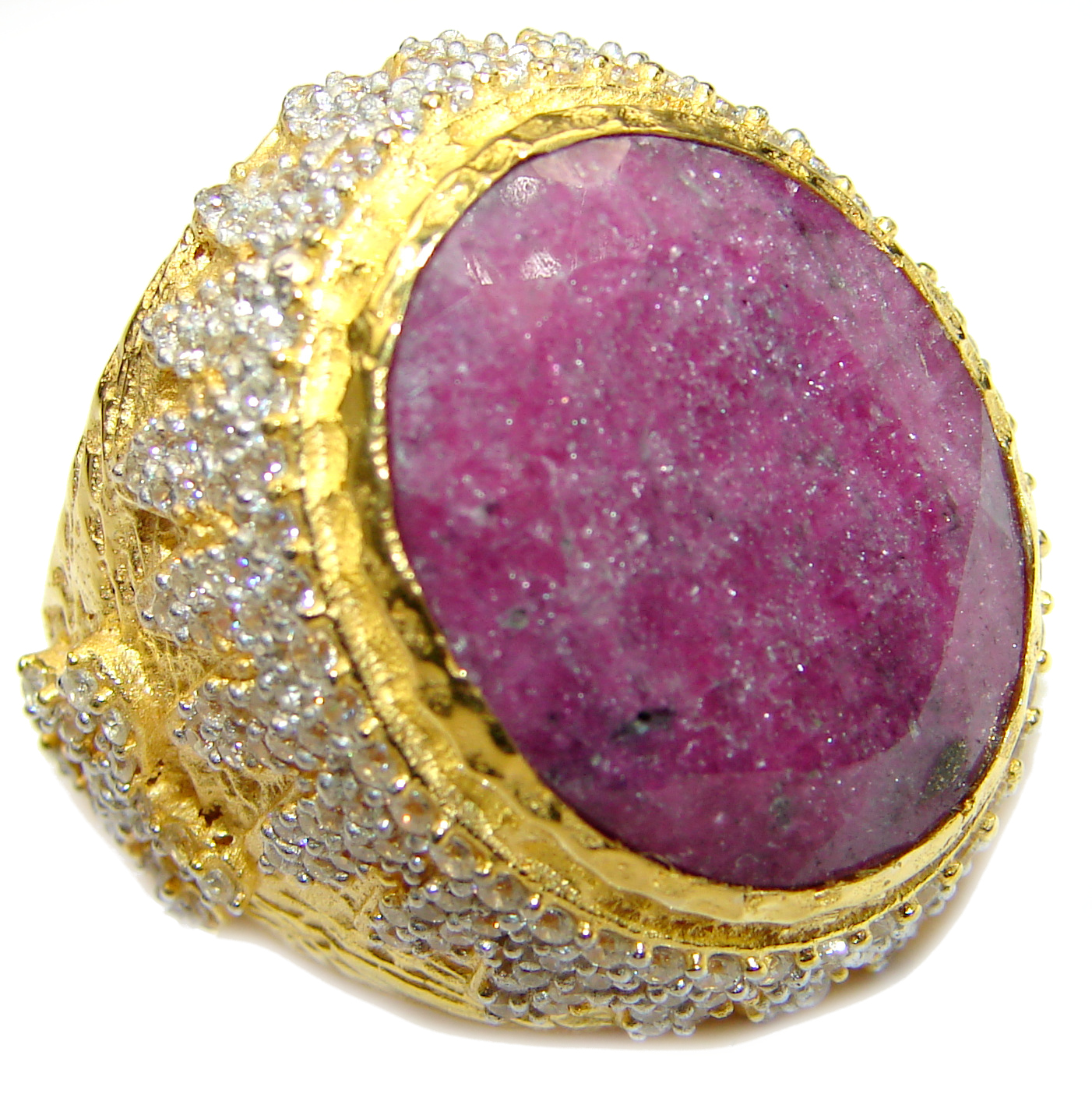 Large genuine Ruby 14K Gold over .925 Sterling Silver Statement Italy made ring; s. 8