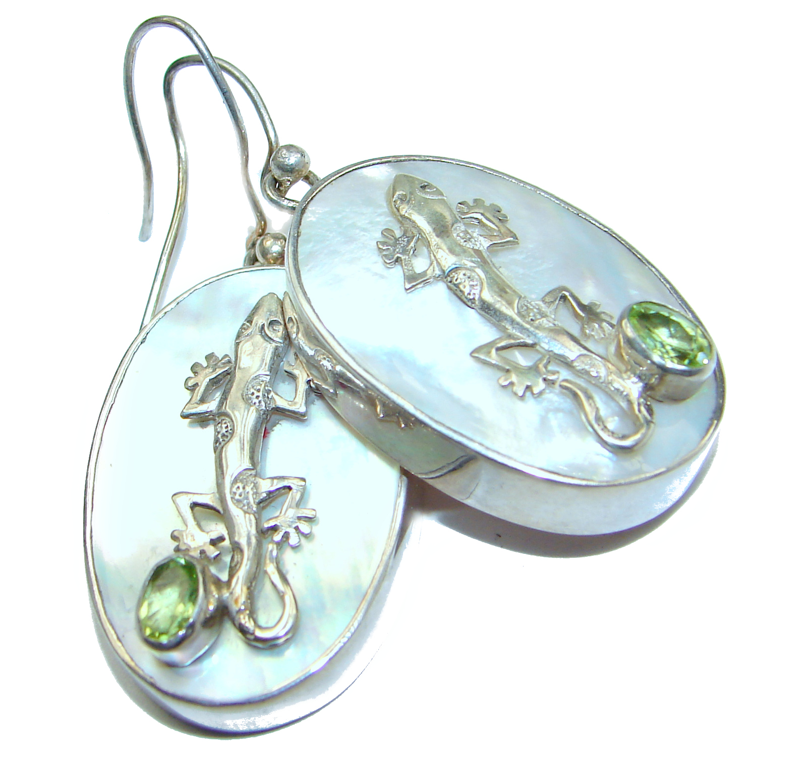 Lizards Blister Pearl Peridot .925 Sterling Silver handmade earrings
