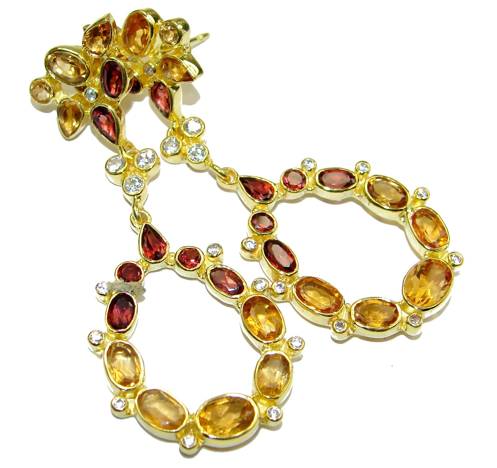 Impressive genuine Champagne Topaz 14k Gold over .925 Sterling Silver handmade earrings