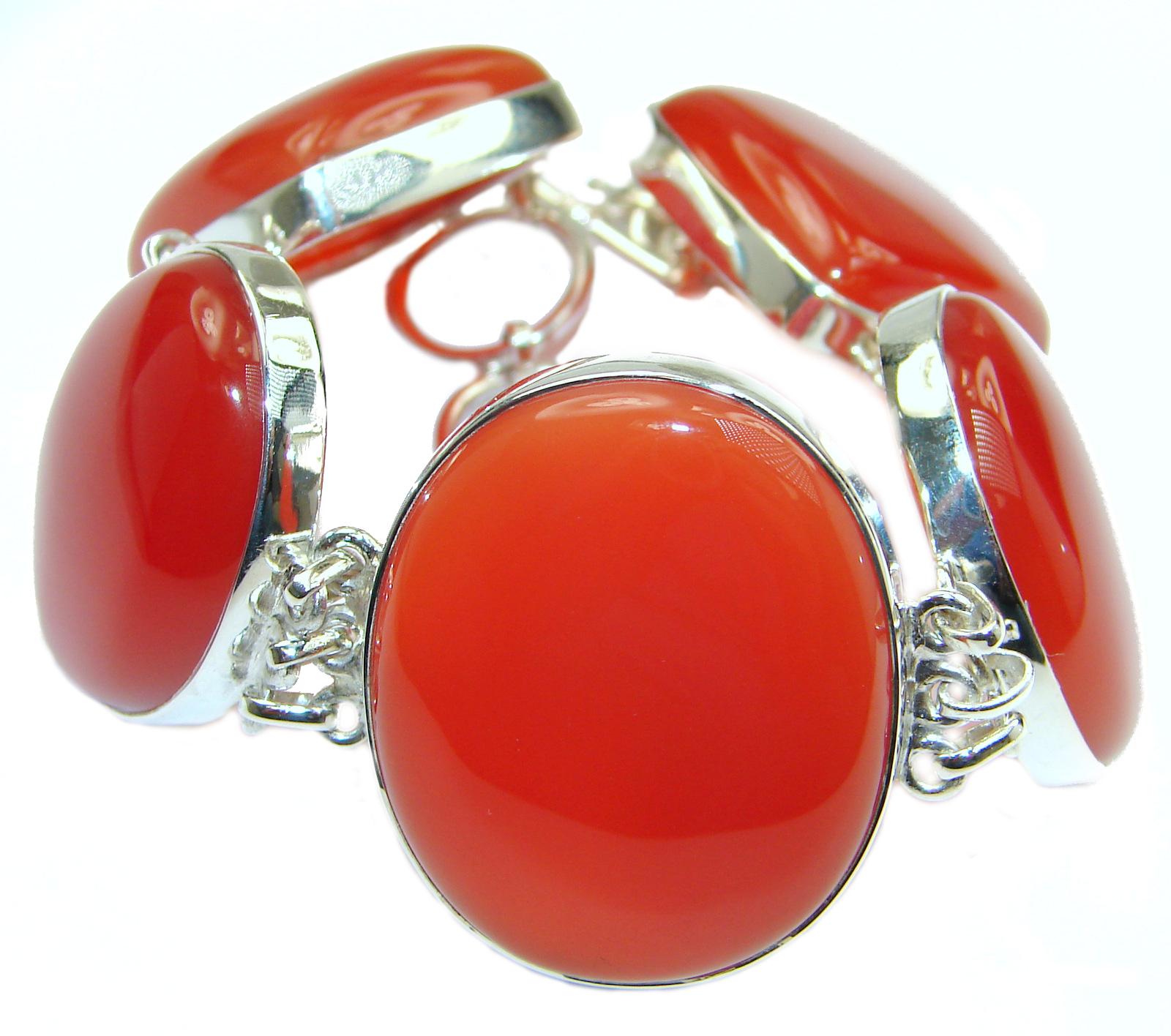 Secret Treasure Orange Carnelian .925 Sterling Silver handcrafted Bracelet