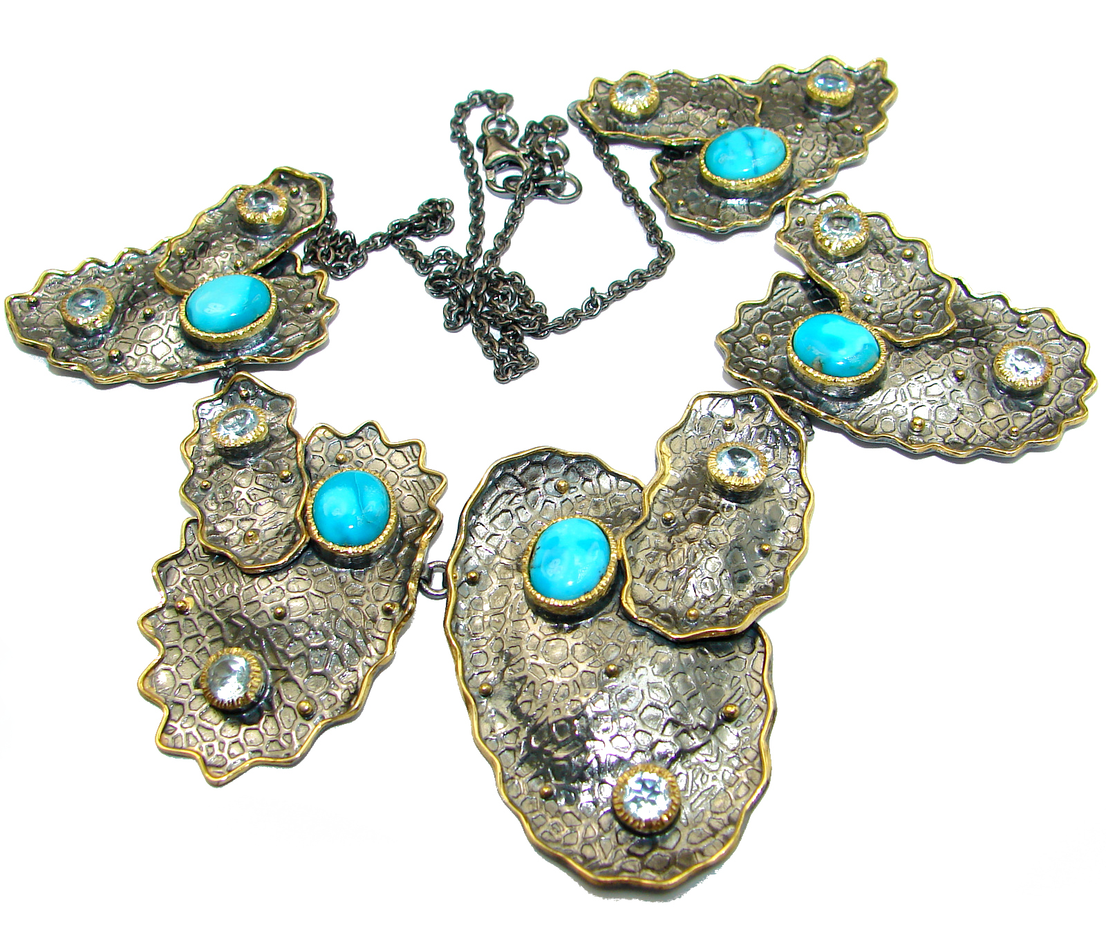 Blue genuine Sleeping Beauty Turquoise Black Rhodium over .925 Sterling Silver handcrafted necklace