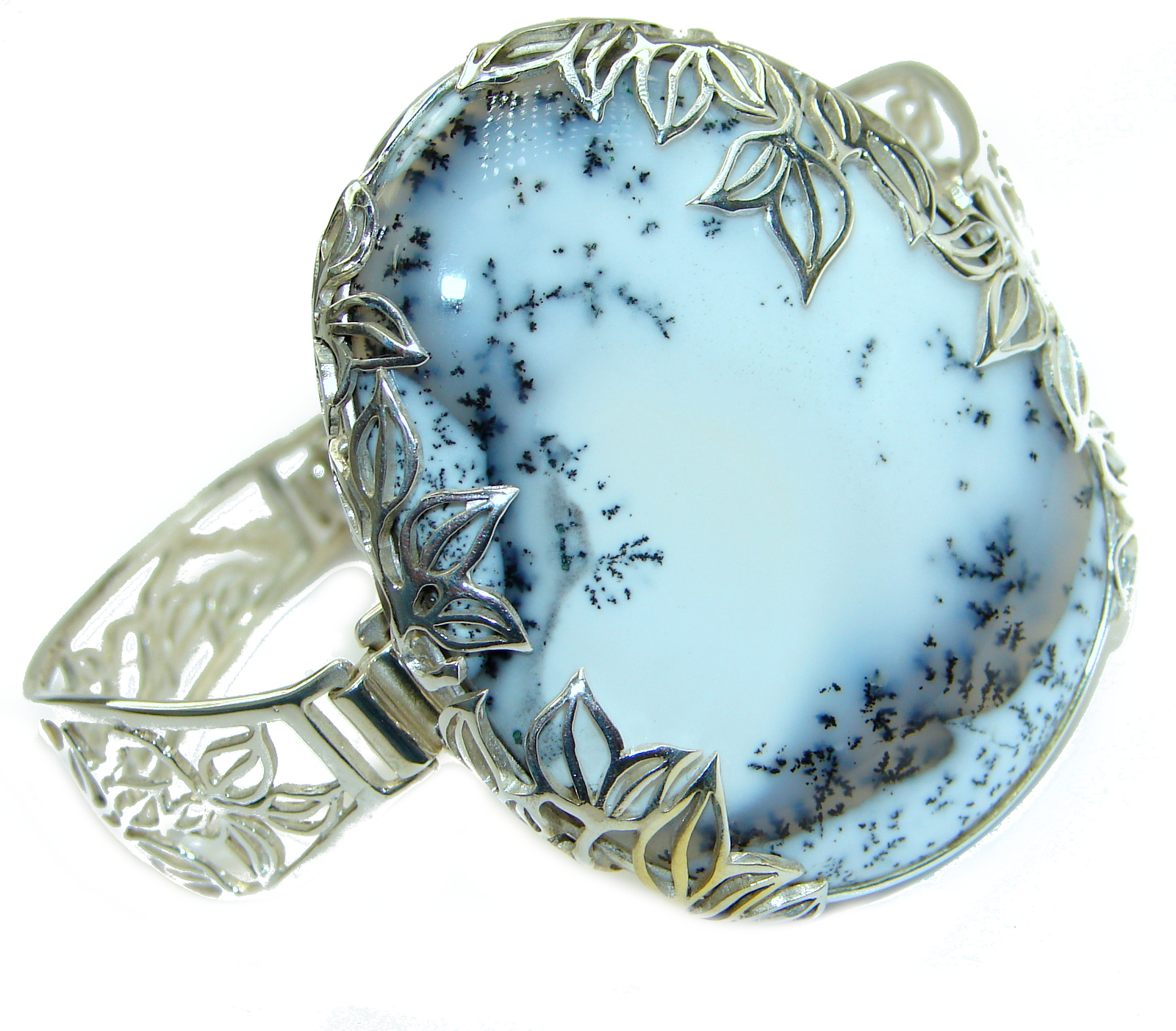 Huge Dendritic Agate .925 Sterling Silver handcrafted Cuff/Bracelet