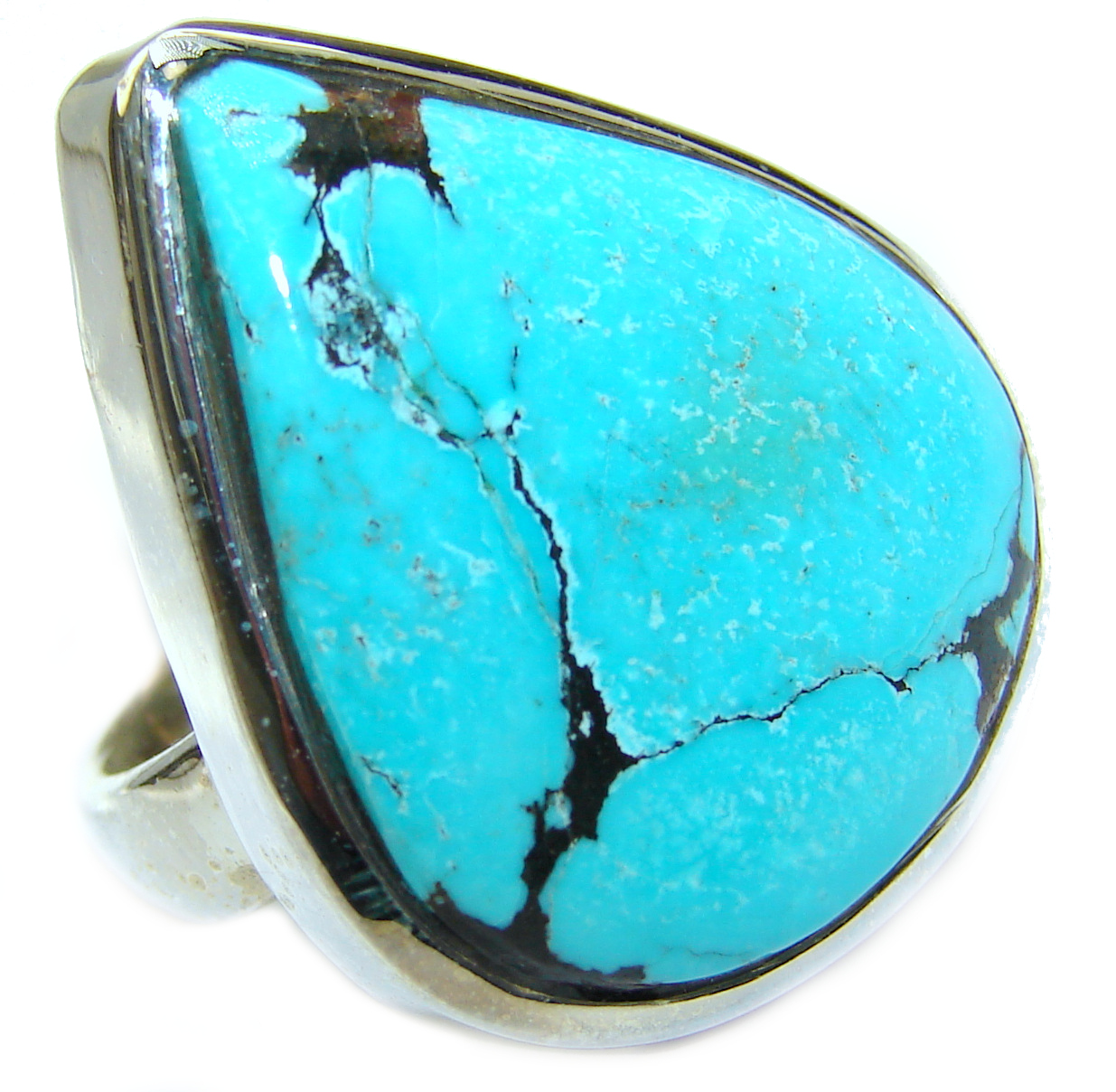 Huge Turquoise .925 Sterling Silver ring; s. 6 3/4