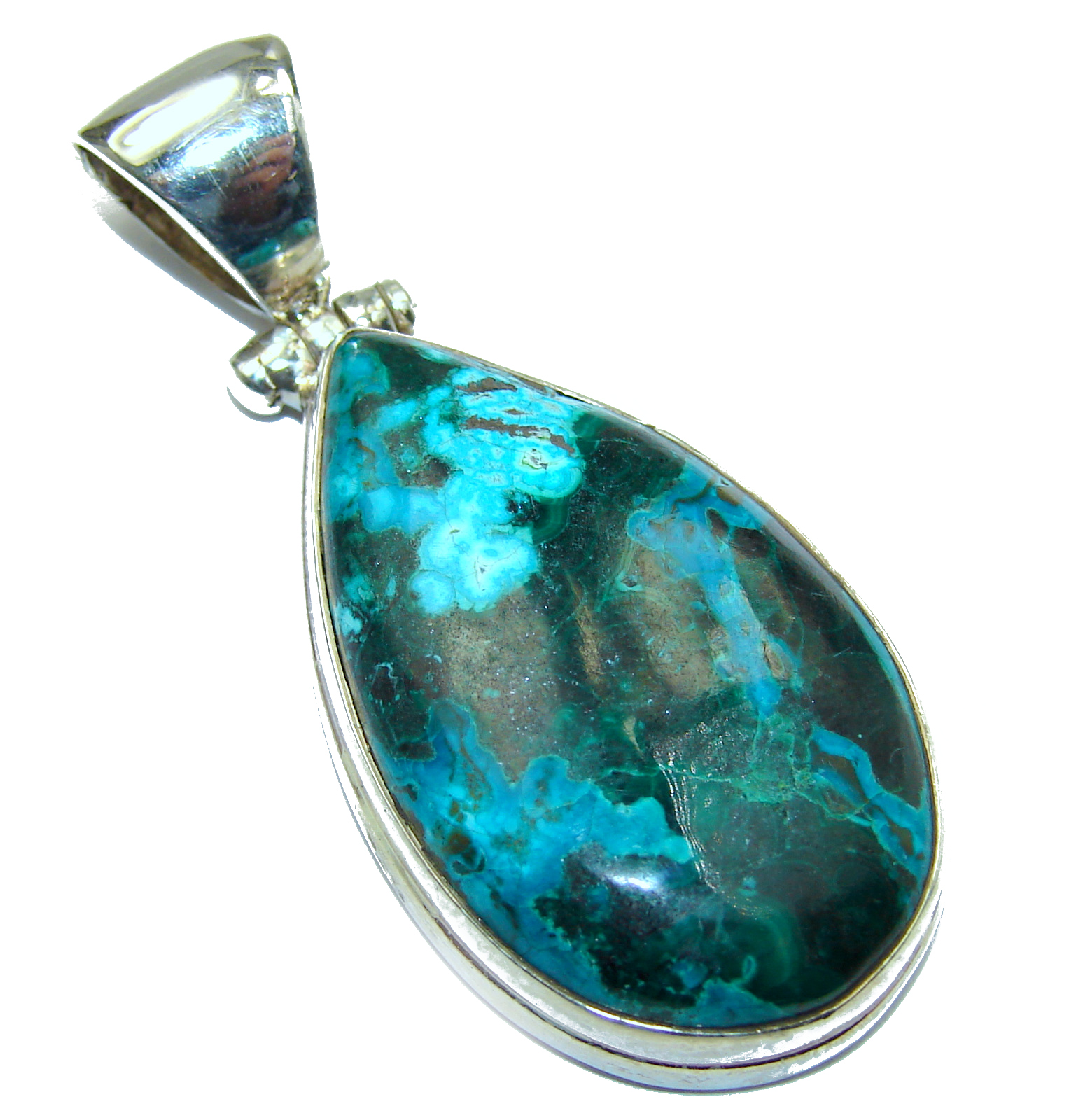 Awesome style Chrysocolla .925 Sterling Silver handcrafted Pendant