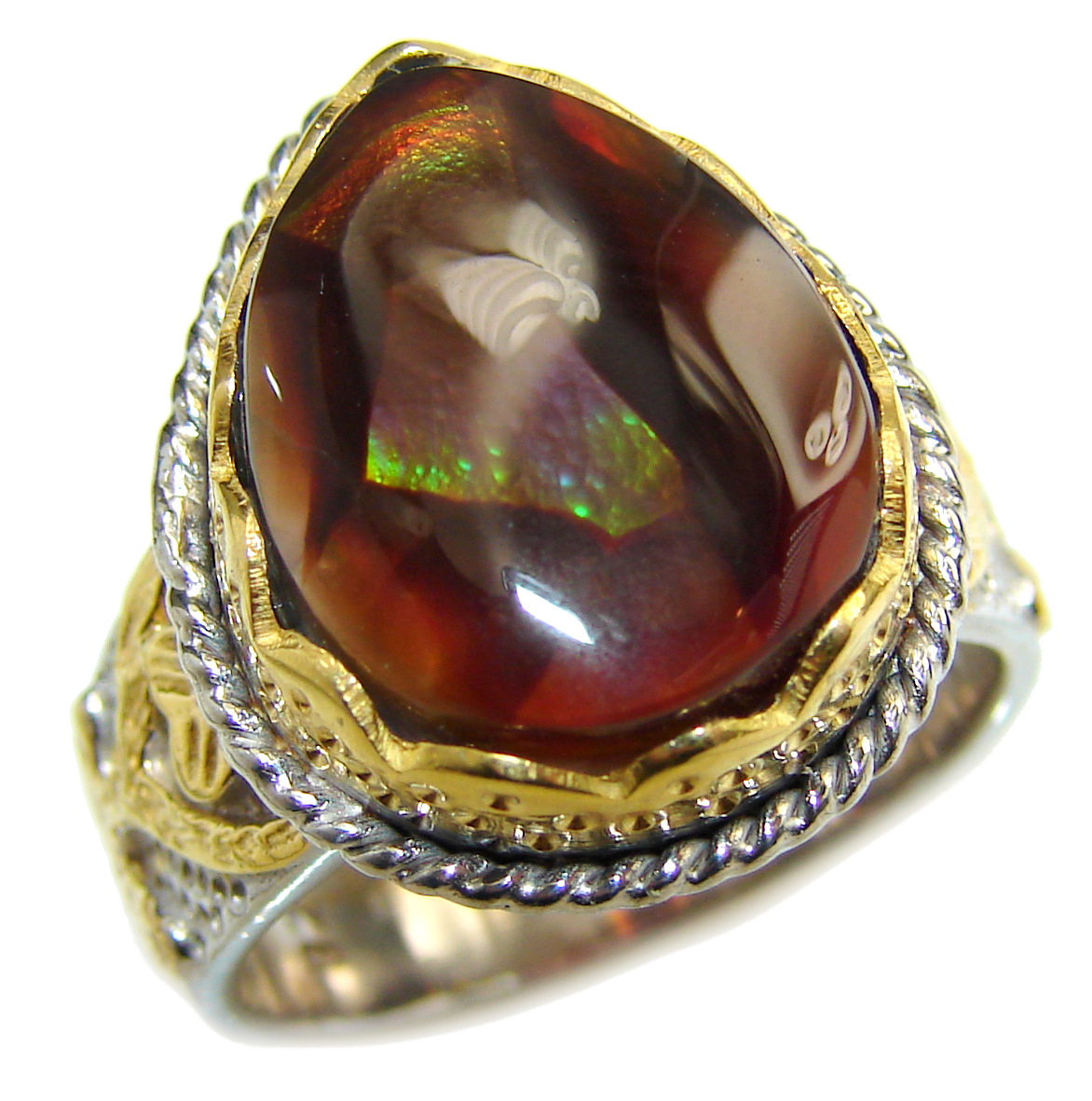 Genuine Fire Agate Mexican 14K Gold over .925 Sterling Silver Ring size 8