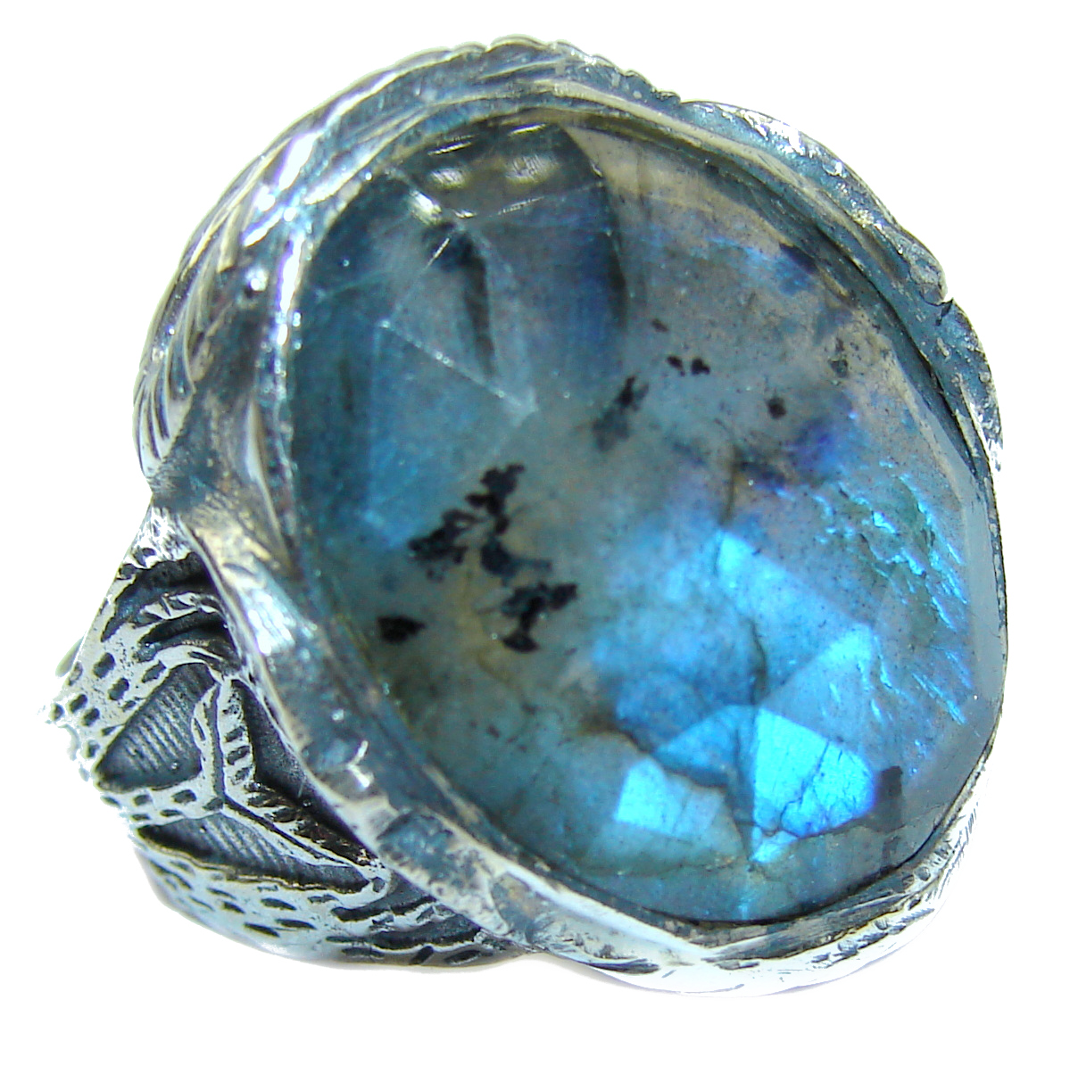 Perfect faceted Labradorite .925 Sterling Silver handmade Ring s. 8 1/4