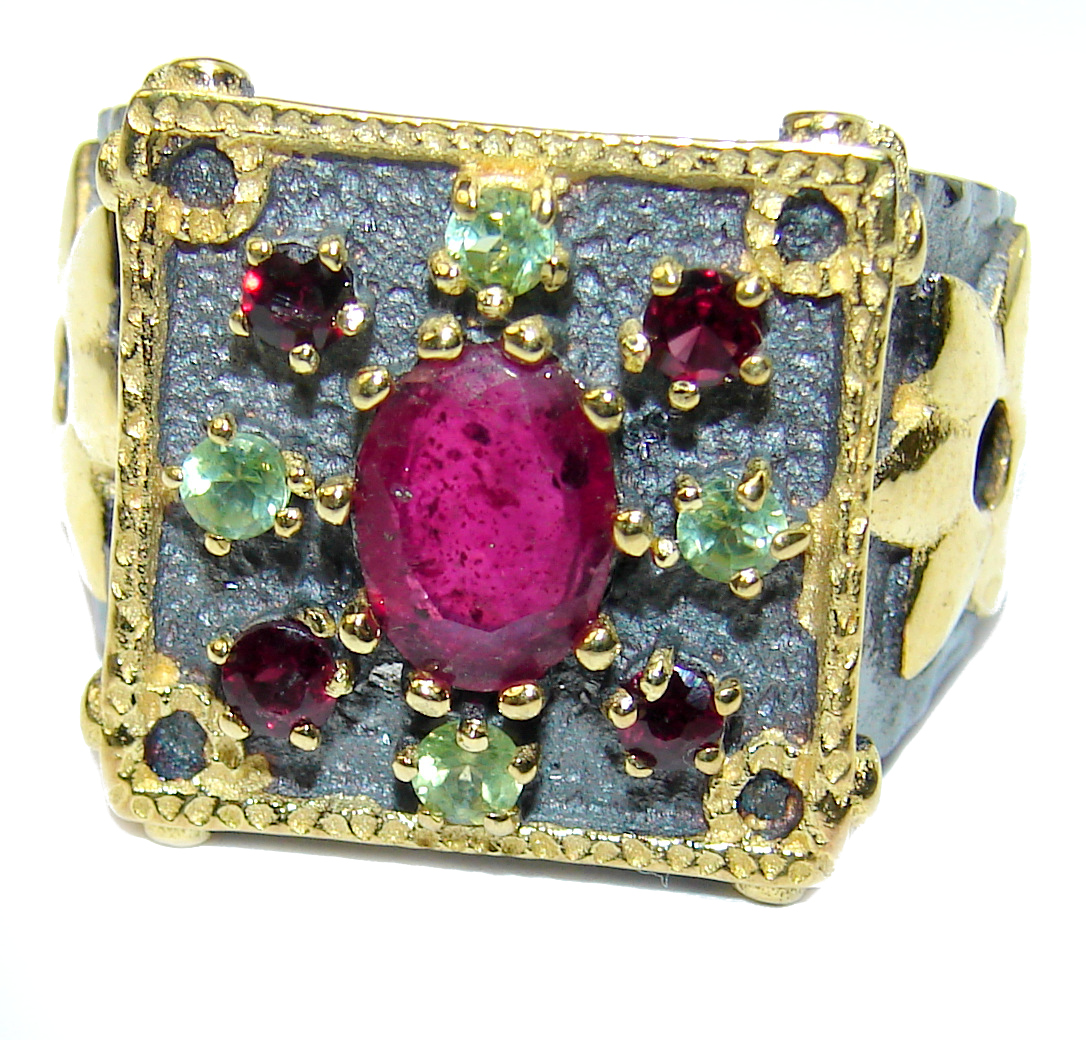 Large genuine Ruby 14K Gold over .925 Sterling Silver Statement  ring; s. 8 ..