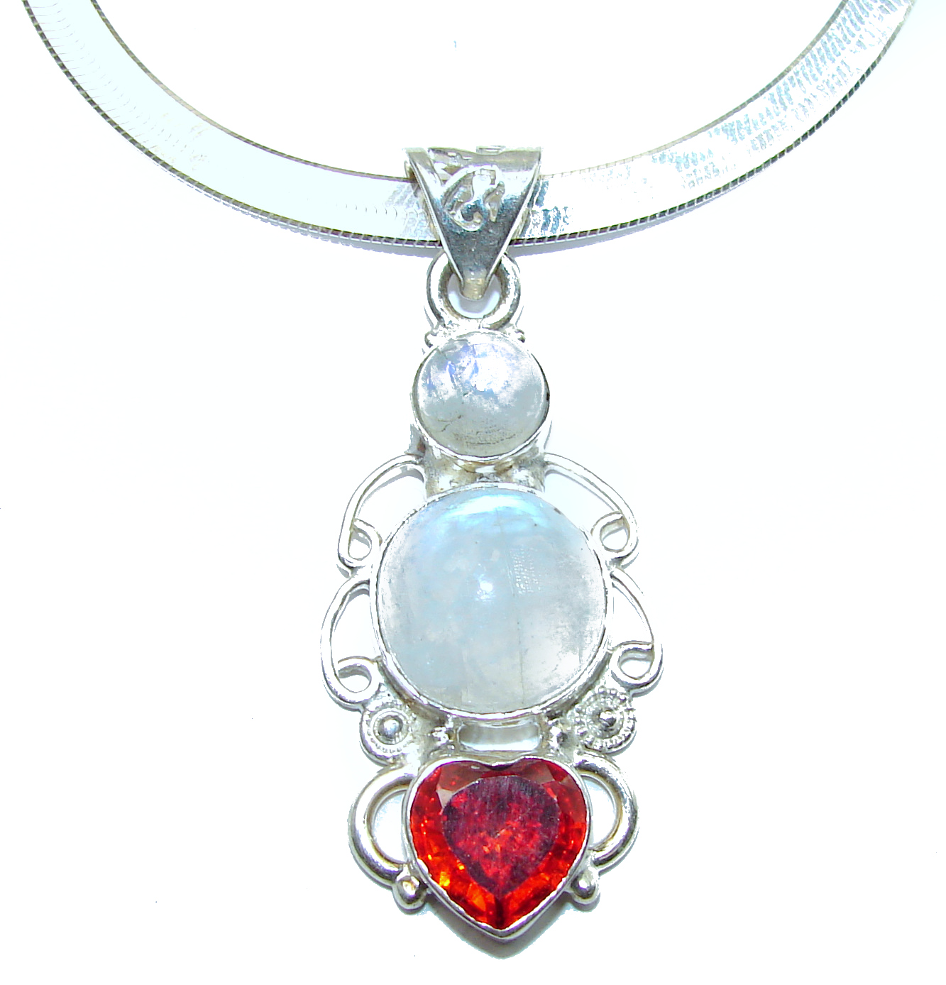 Genuine Fire Moonstone .925 Sterling Silver handmade Necklace