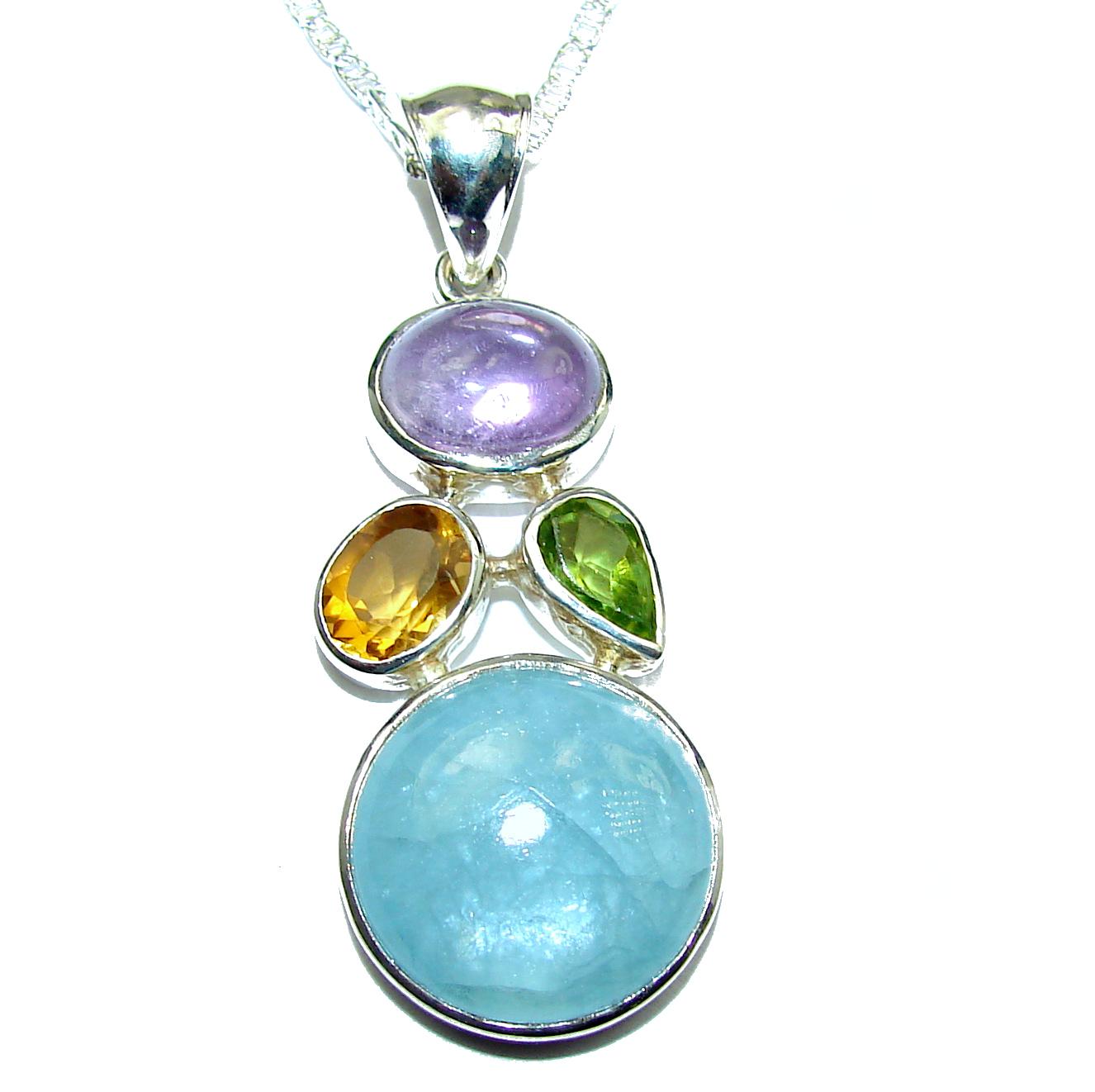 True Art genuine Aquamarine .925 Sterling Silver handcrafted necklace