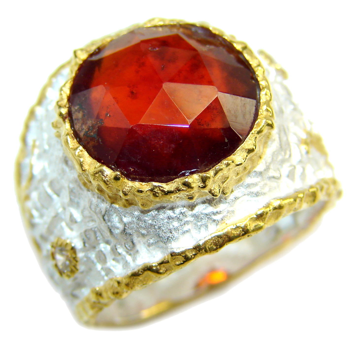 Large genuine 20ct Ruby 14K Gold over .925 Sterling Silver Statement Italy made ring; s. 9