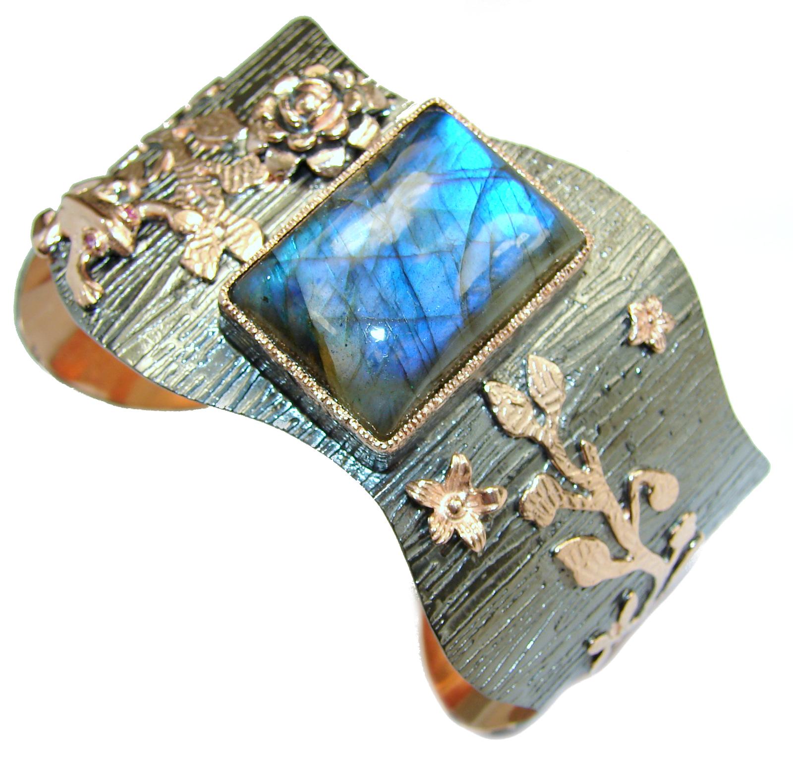 Vintage Style Labradorite 18ct Rose Gold over .925 Sterling Silver handmade Bracelet / Cuff