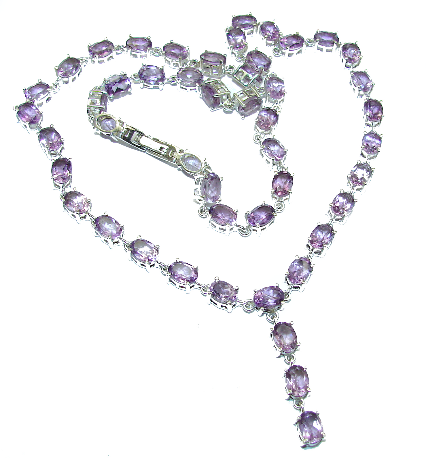 Sublime genuine Amethyst .925 Sterling Silver handcrafted necklace