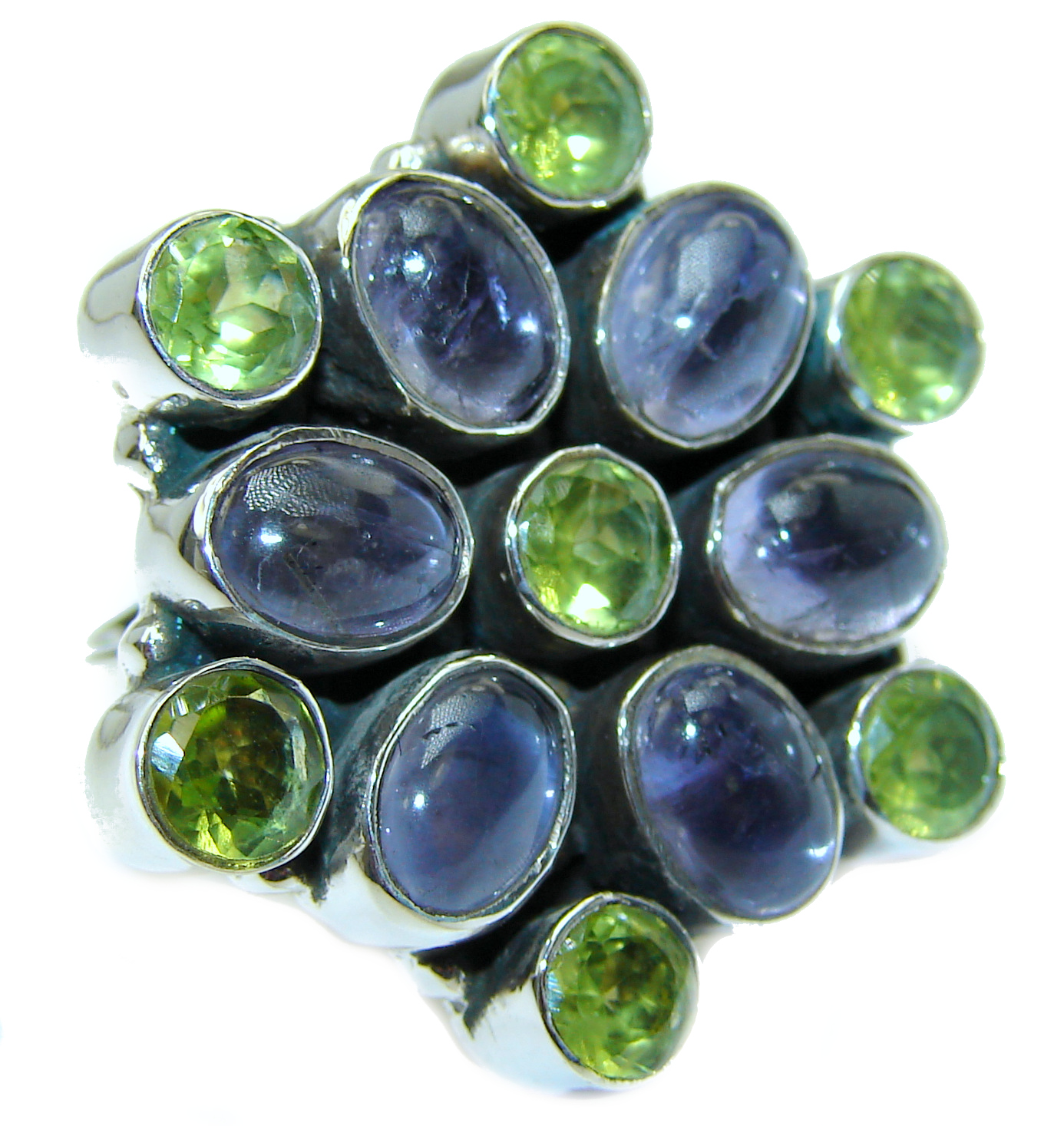 Huge Iolite .925 Sterling Silver handcrafted Ring s. 8 1/4