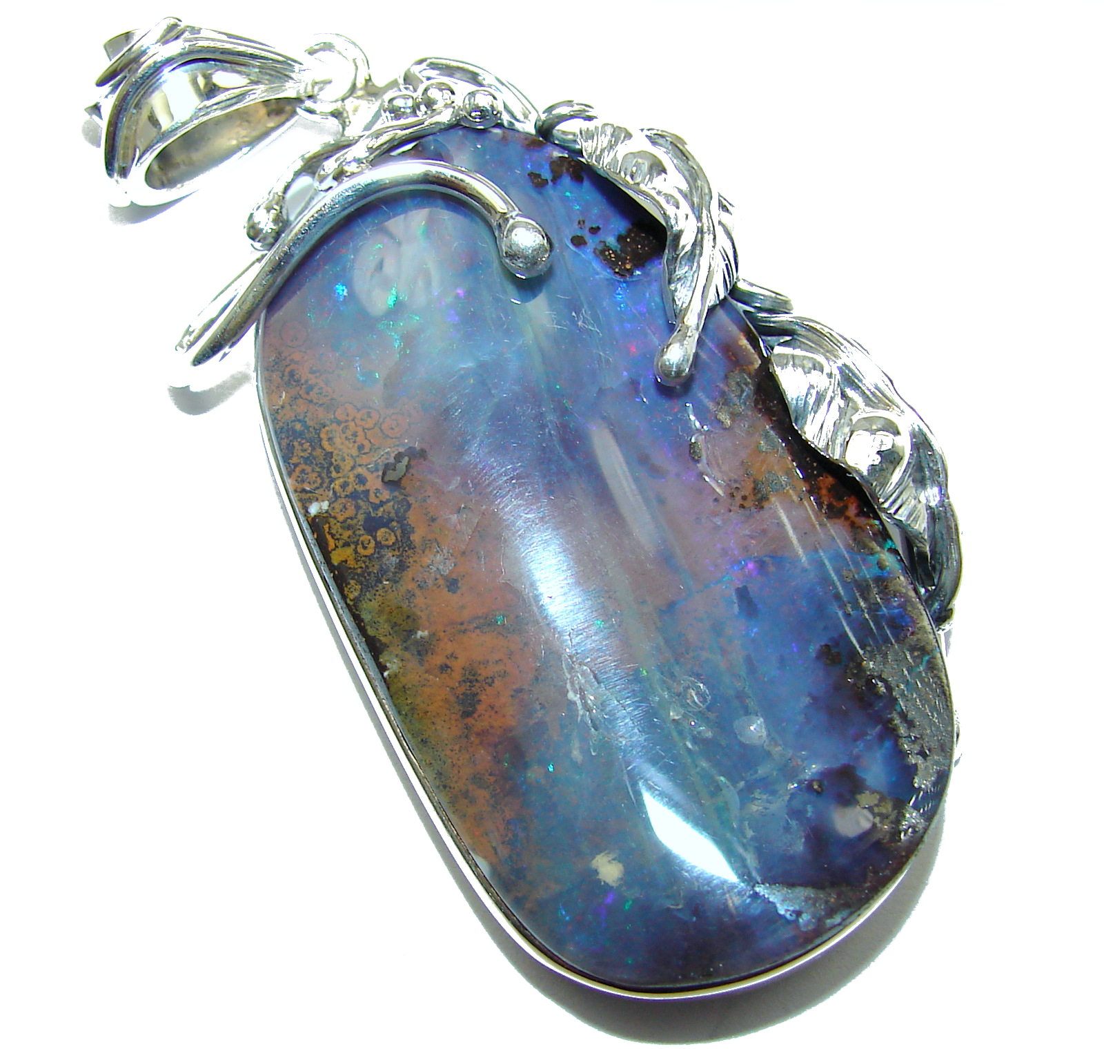 Giant Rustic Design Authentic Australian Boulder Opal .925 Sterling Silver handmade Pendant