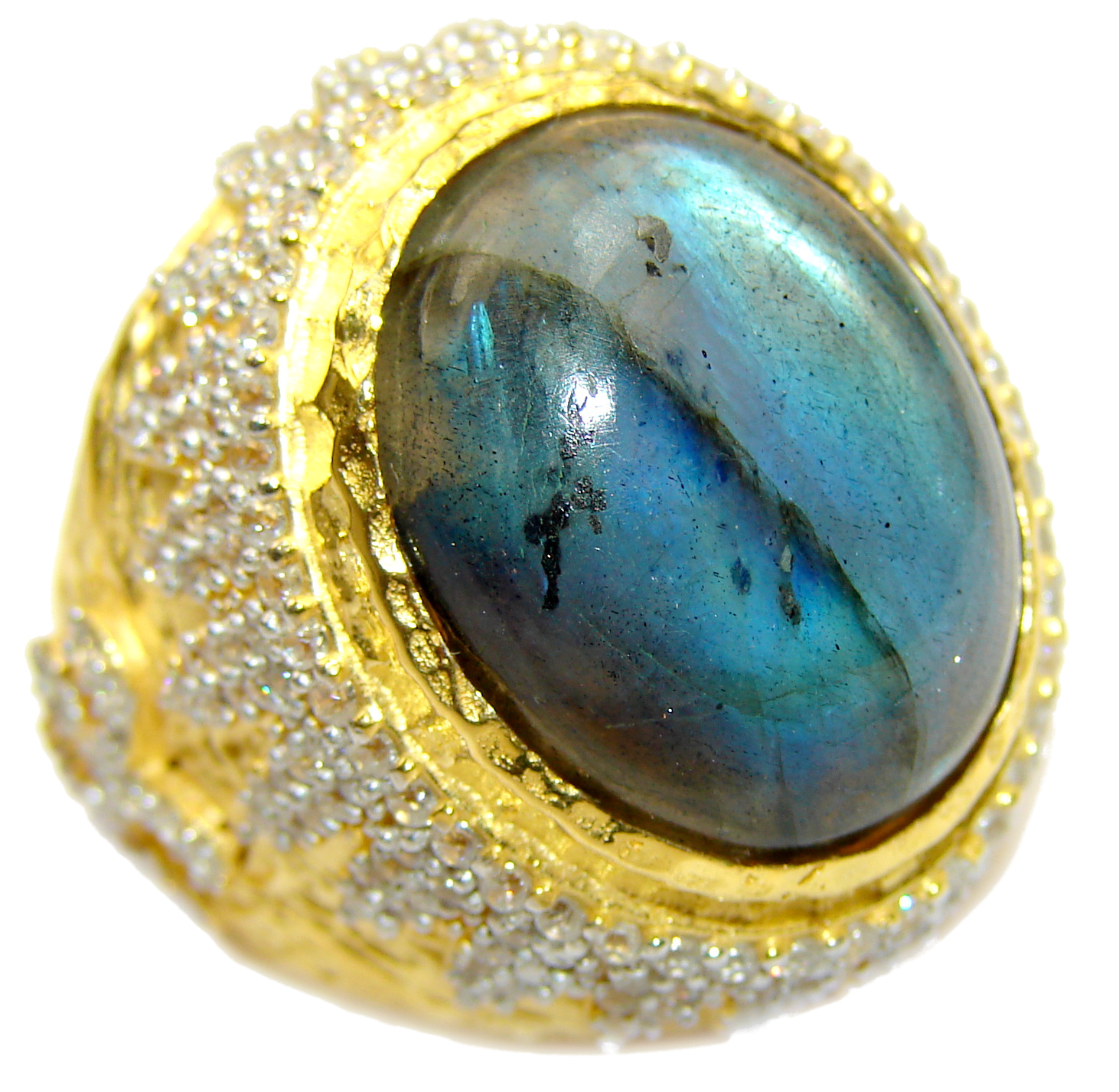 Regal Infinity Labradorite 18K Gold over .925 Sterling Silver ITALY handmade ring size 8