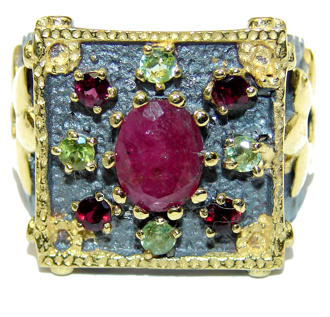 Genuine Ruby 14K Gold over .925 Sterling Silver Statement  ring; s. 6 1/2