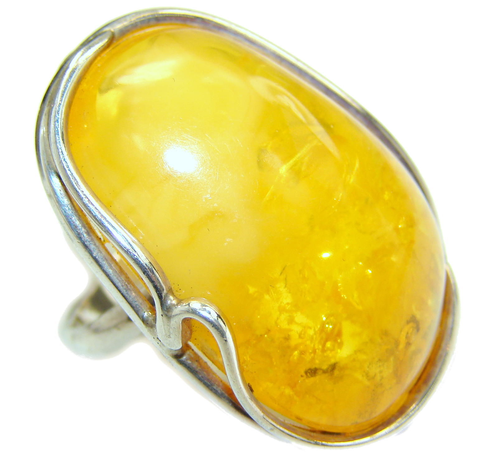 Huge Genuine Baltic Amber .925 Sterling Silver handmade Ring size 7 adjustable