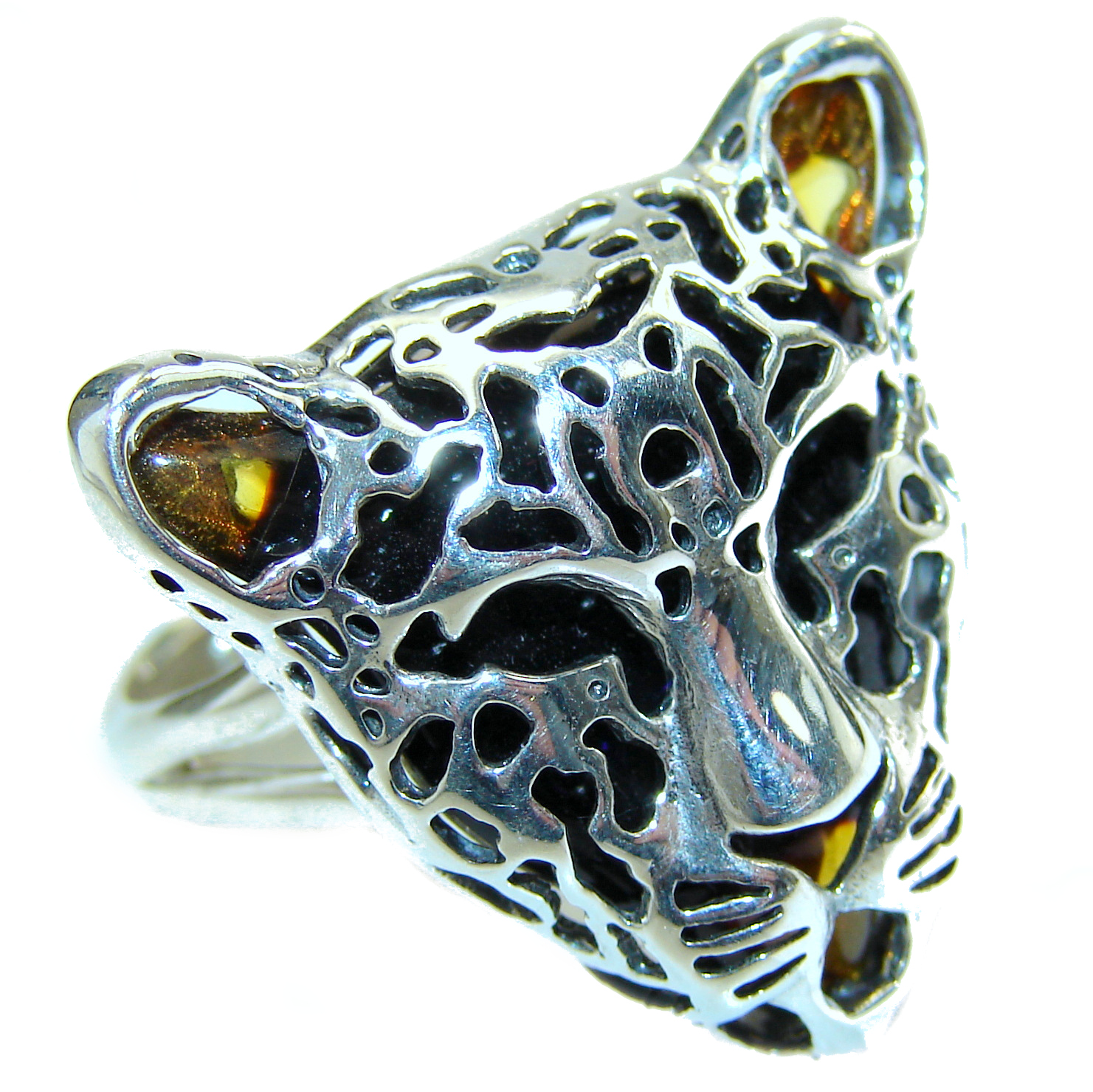Leopart Genuine Baltic Polish Amber .925 Sterling Silver handmade Ring size 8 adjustable