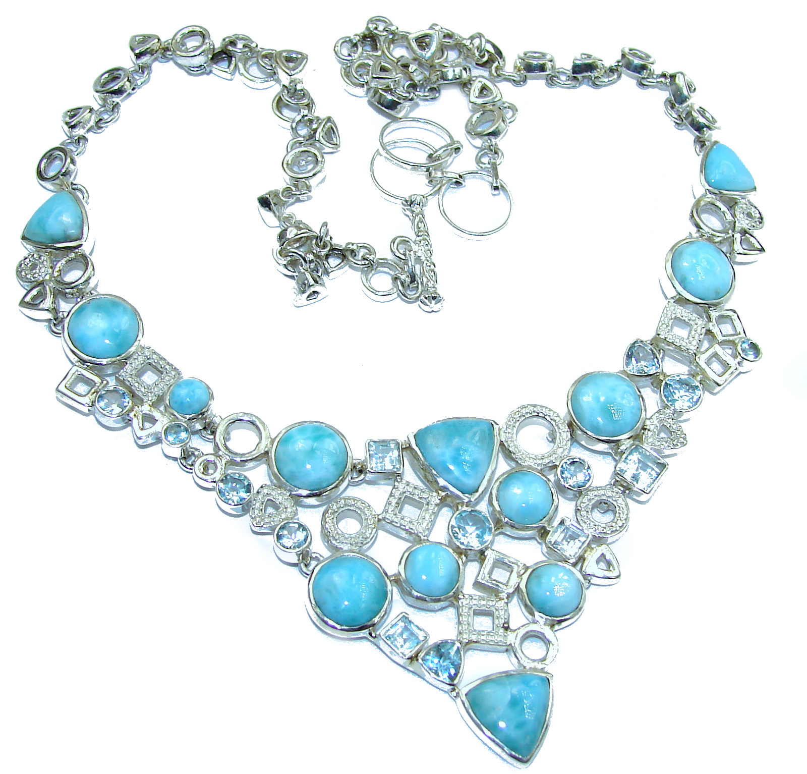 8299950528df8a Ocean Halo genuine Larimar Swiss Blue Topaz .925 Sterling Silver handmade  necklace